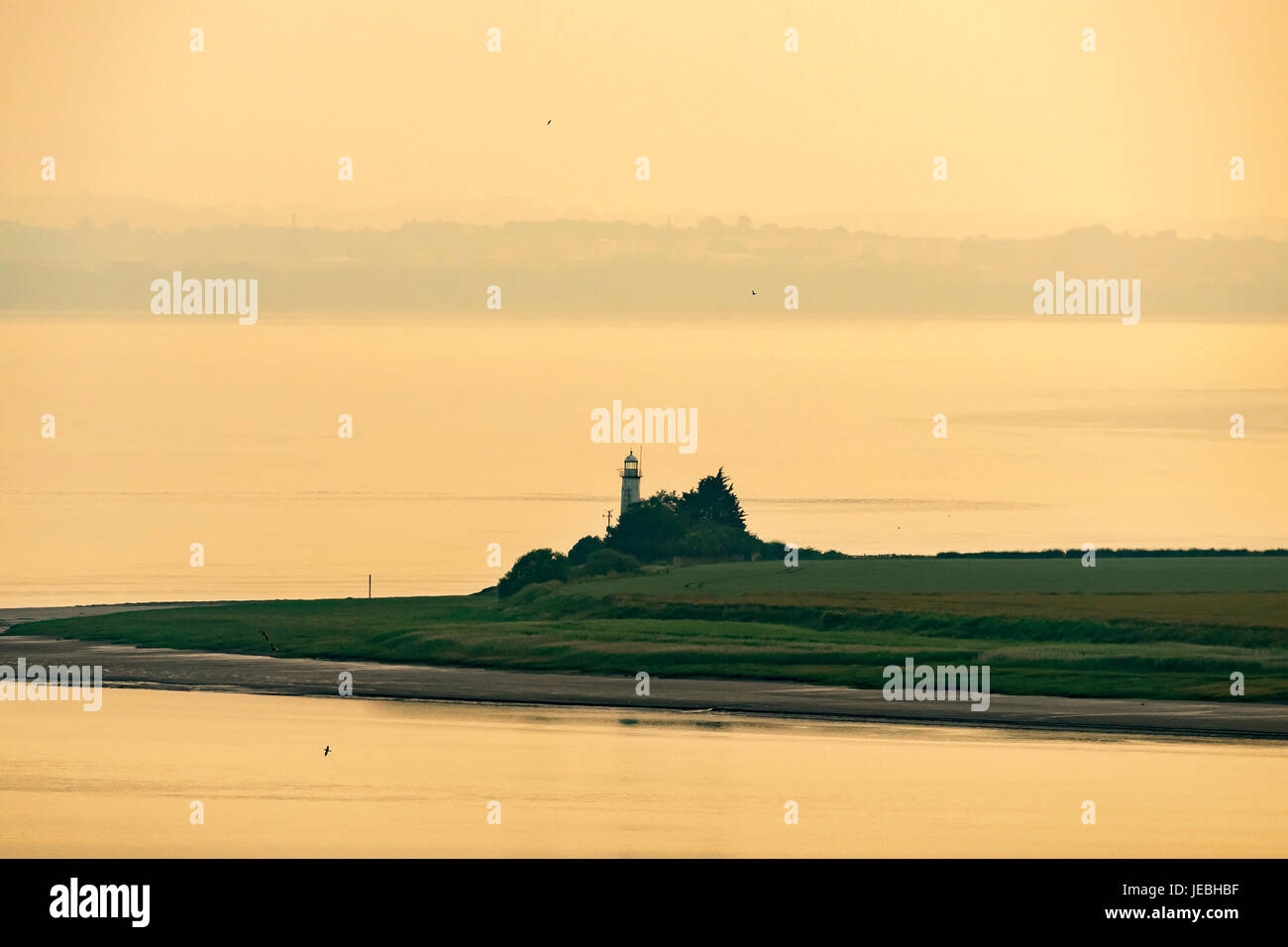 Hale Lighthouse on the river Mersey. - Stock Image