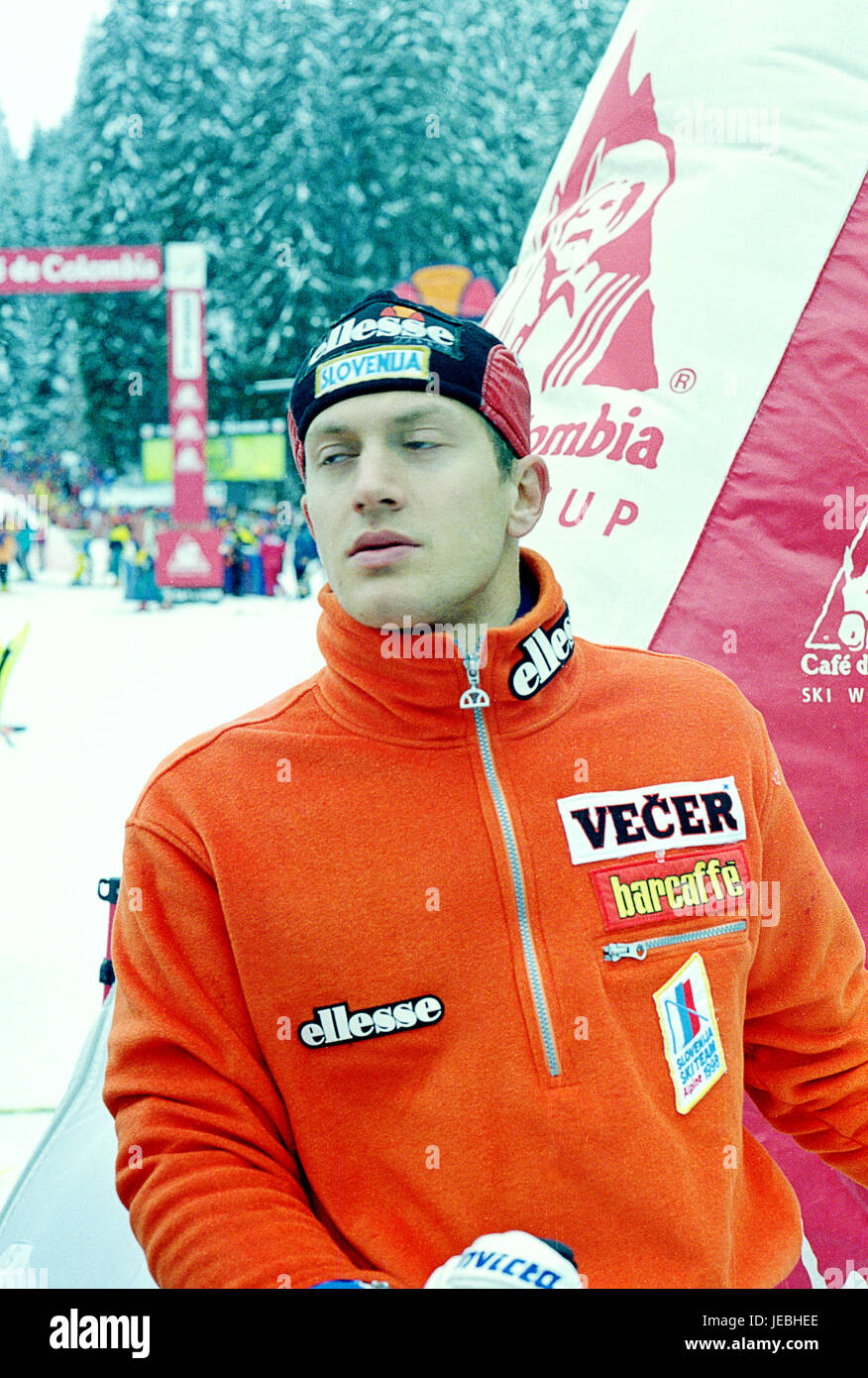 Slovenian skier Jure Kosir in Madonna di Campiglio in Italy 1997 - Stock Image