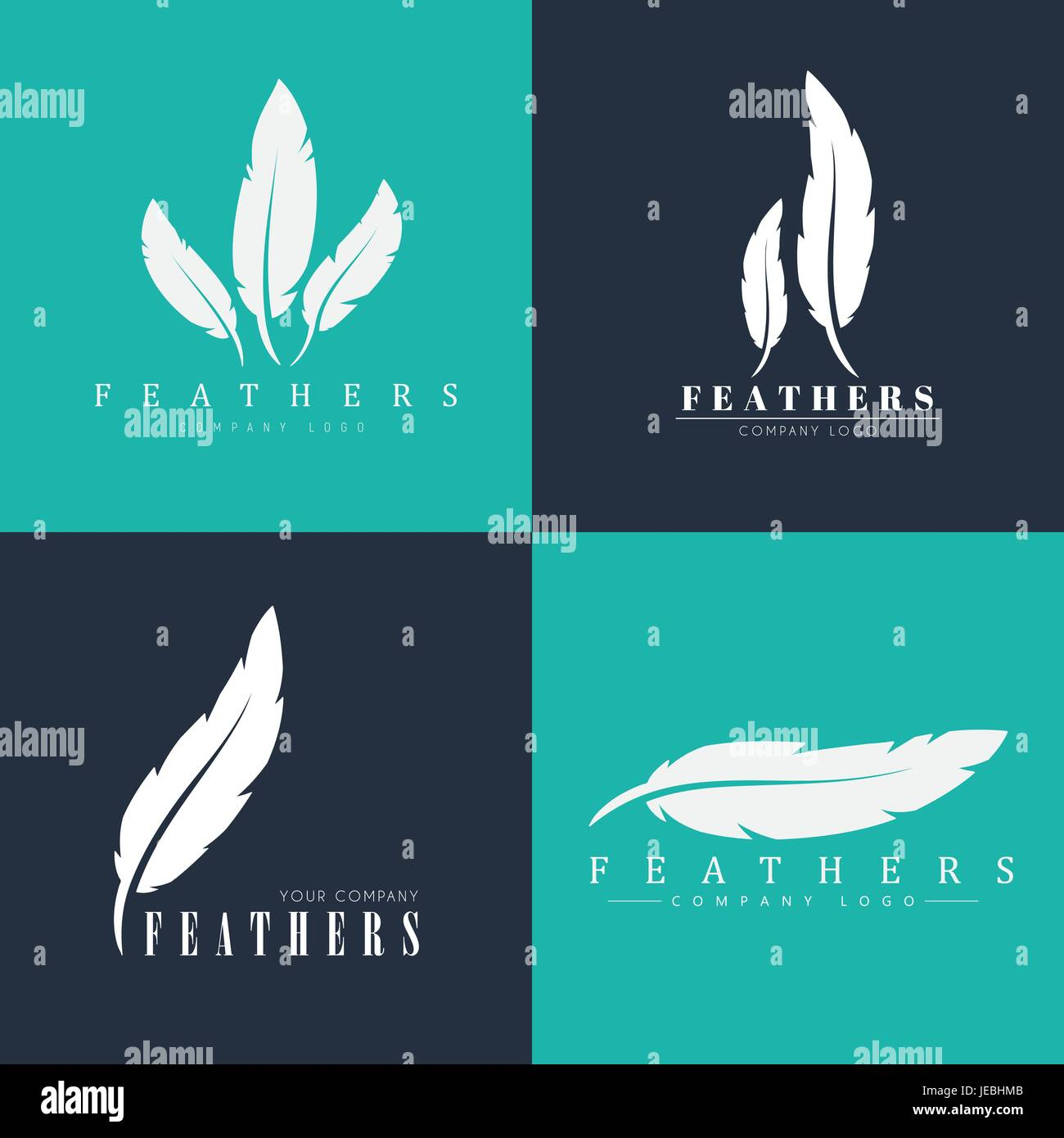 Design of logos with feathers templates for writers book design of logos with feathers templates for writers book publishers and businesses vector illustration set maxwellsz