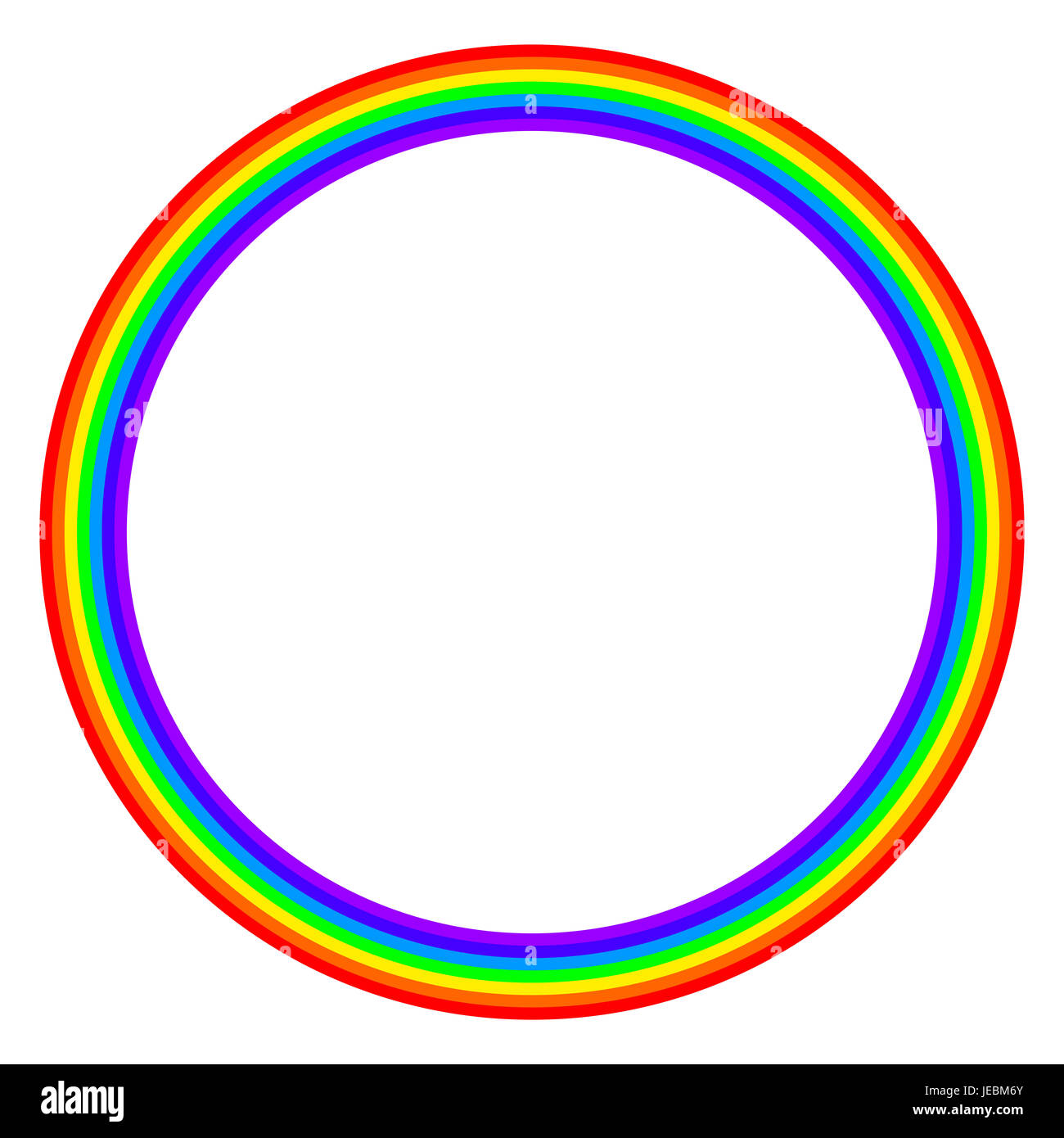 Rainbow colored circle on white background. Ring with rainbow bands in seven main colors of the spectrum and visible Stock Photo