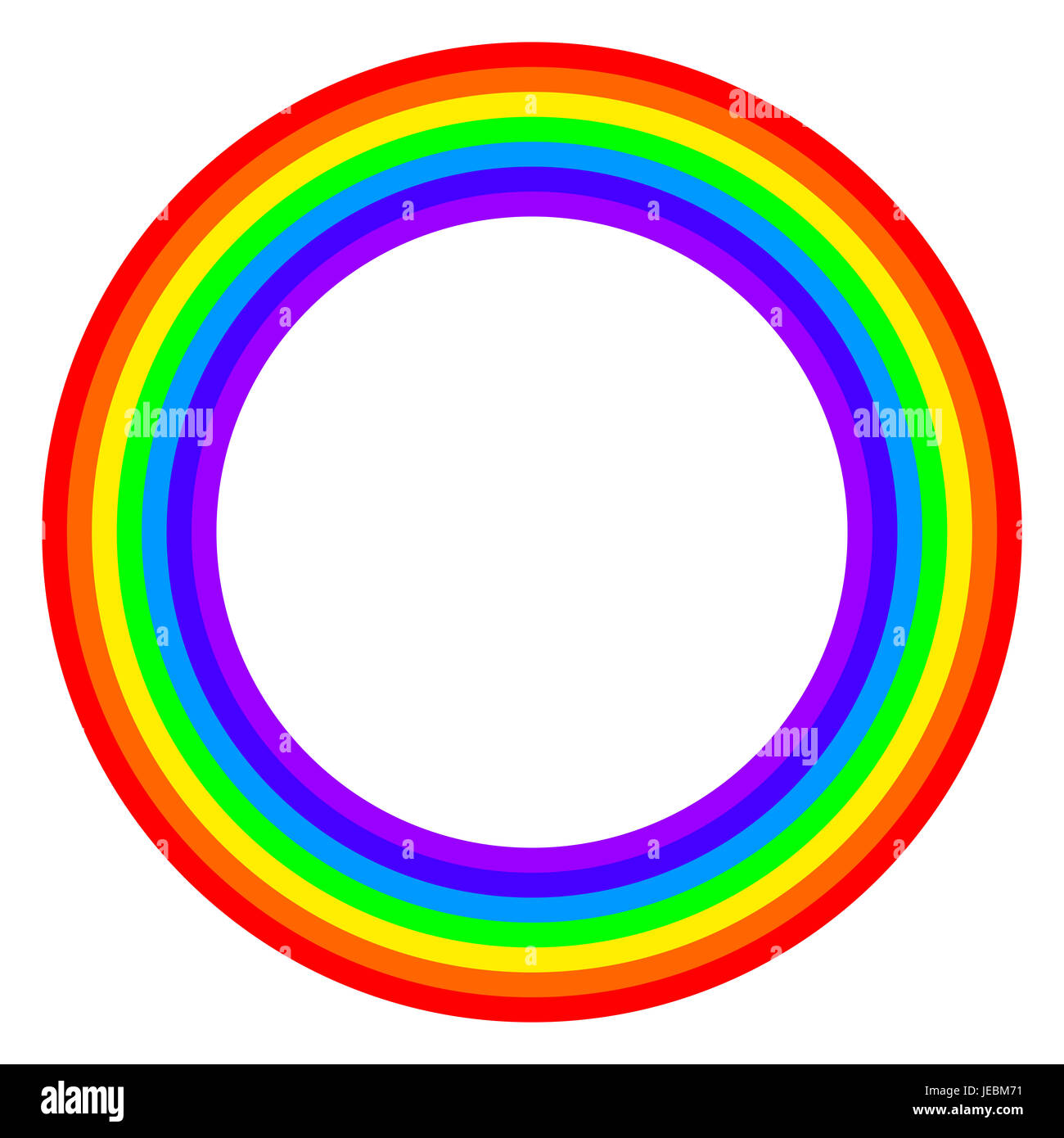 Rainbow circle spectrum colored. Ring with rainbow bands in seven colors of the spectrum and visible light. Stock Photo