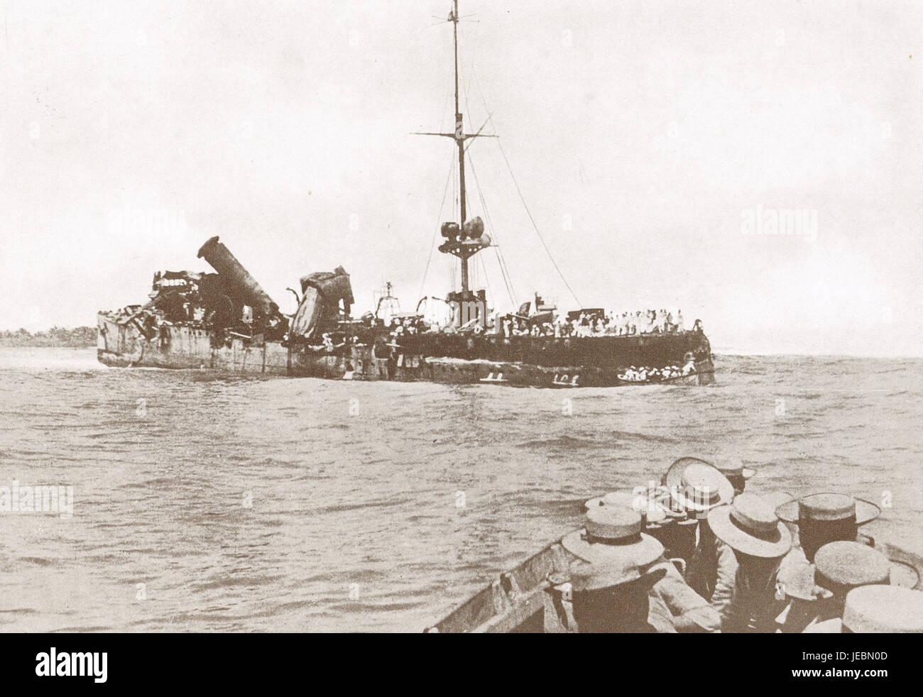 SMS Emden destroyed by HMAS Sydney 1914 - Stock Image