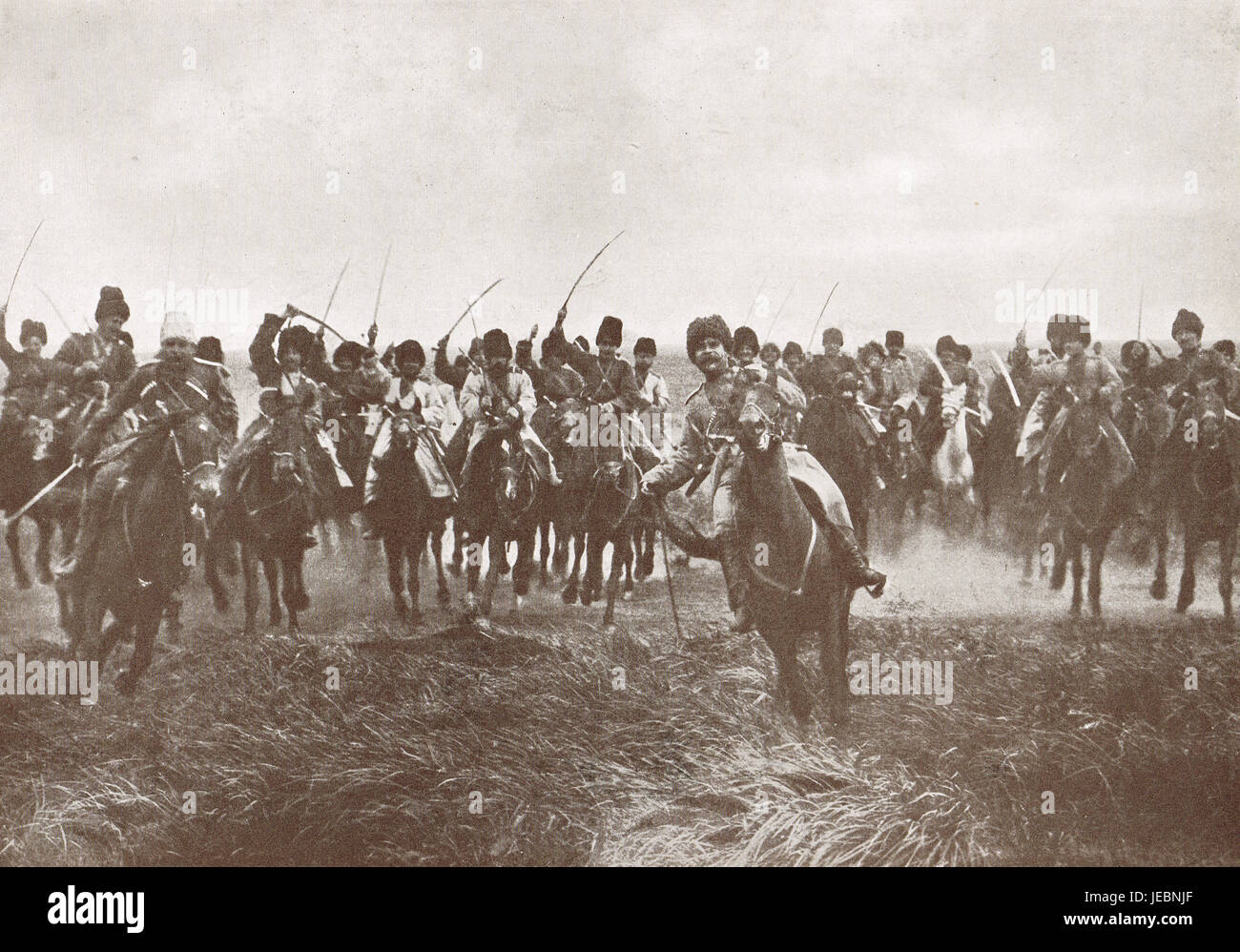 Russian Cossacks charge, WW 1, 1914 Stock Photo