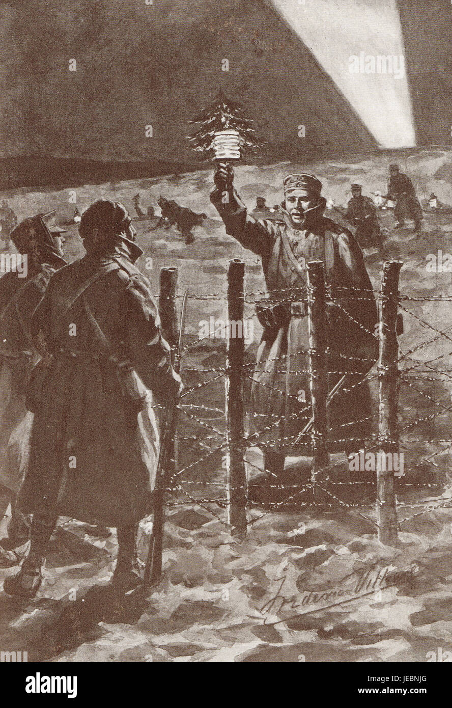 Christmas Truce Of 1914.The Christmas Truce Western Front 1914 Stock Photo