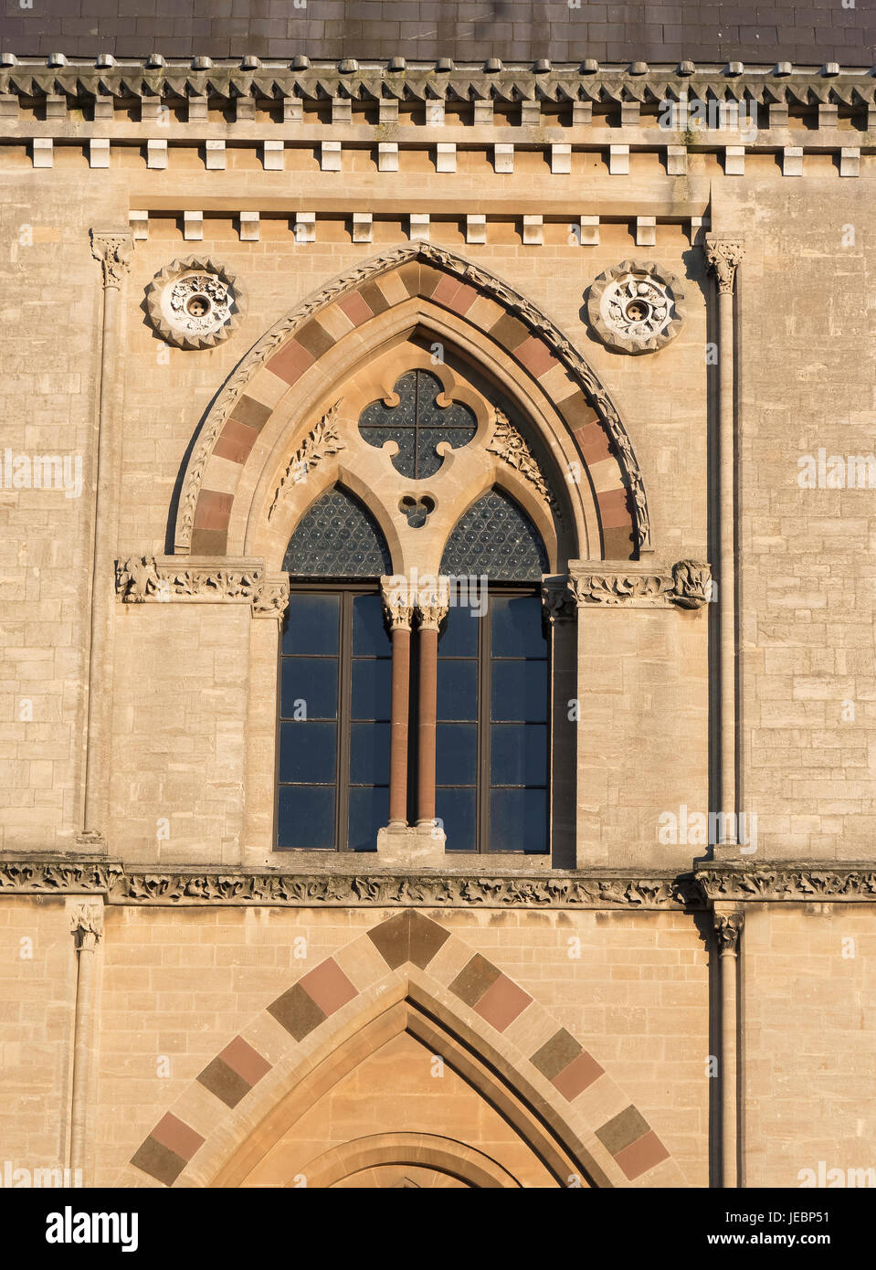 Gothic style window of Oxford University Museum of Natural History, Oxford, England, UK - Stock Image