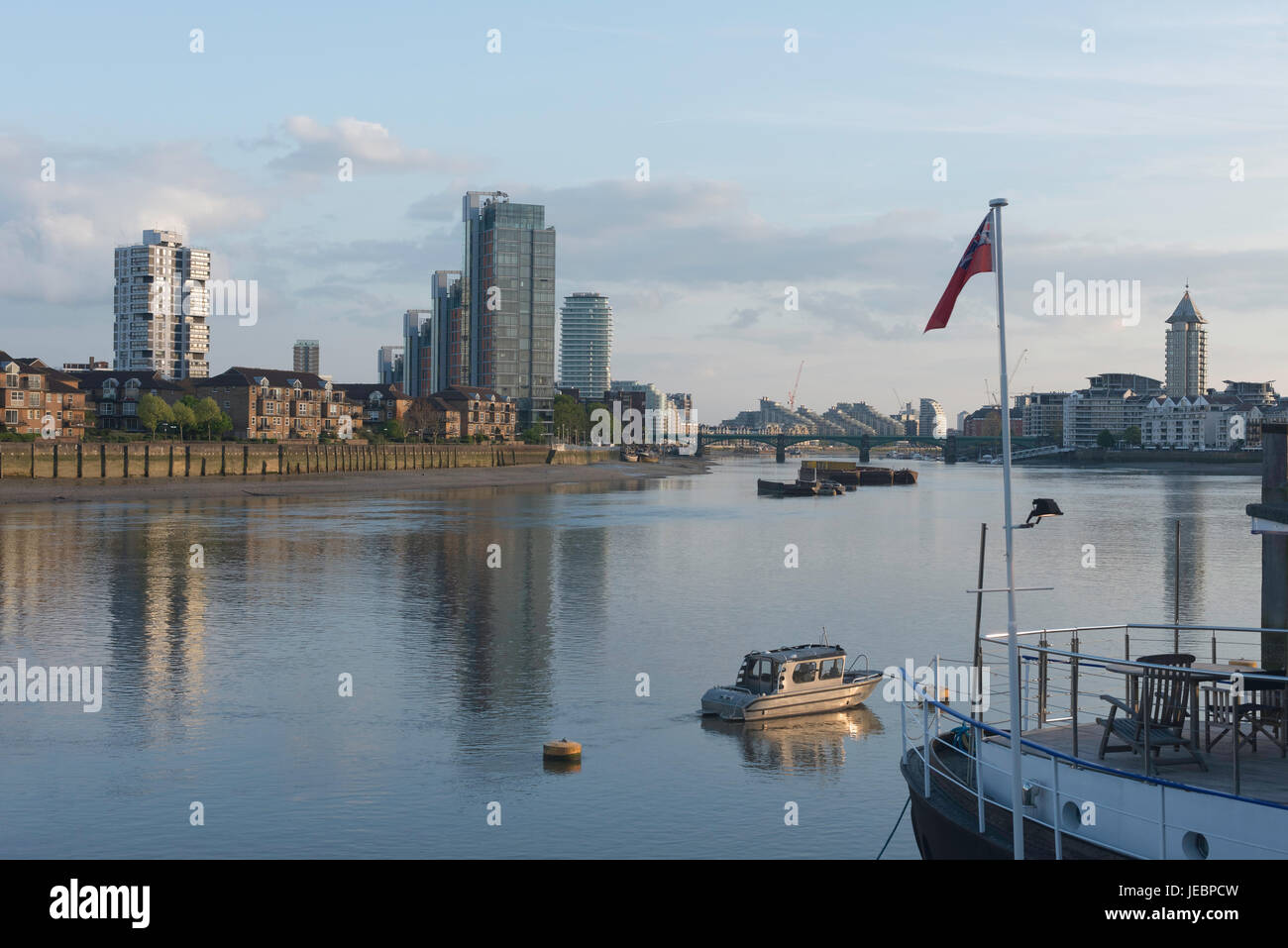 View Of River Thames From Chelsea Embankment Towards Battersea And Stock Photo Alamy
