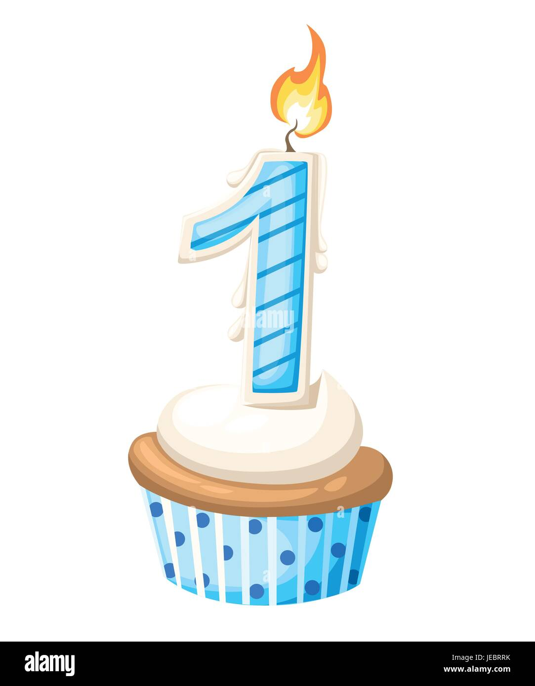 Happy First Birthday Boy Card With Cupcake And Candle In Flat Design Style Vector Illustration