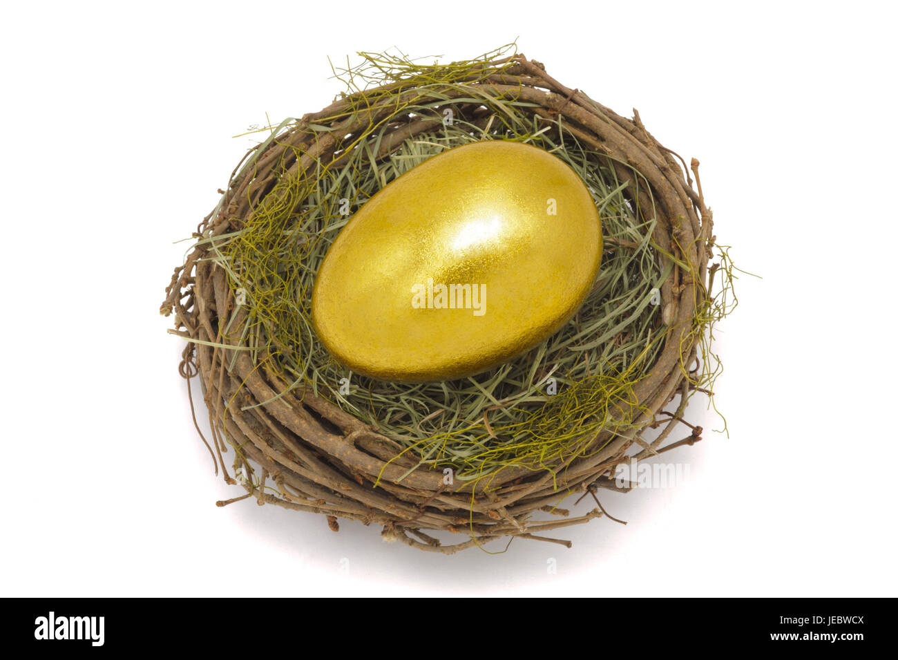 Easter nest, Goldei, money, currency, stock exchange, price, golden price, gold currency, gold, golden, fine gold, - Stock Image