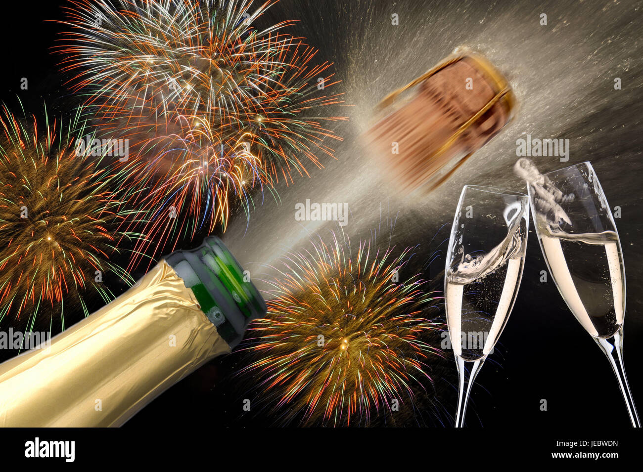 New Year's Eves, corks, belt, champagne glasses, fireworks, New Year, champagne, New Year, party, New Year party, - Stock Image