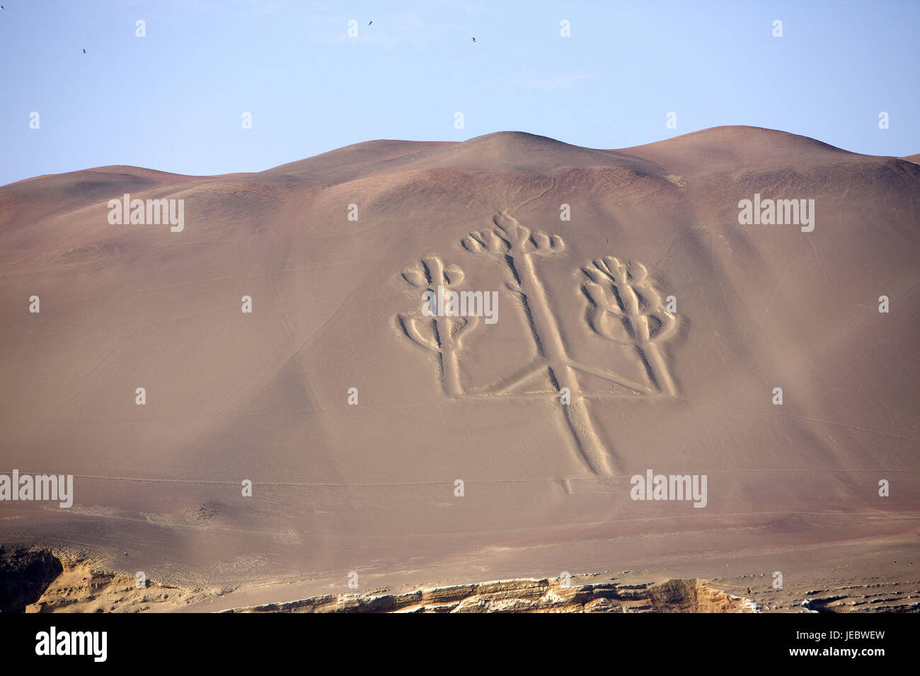 Peru, Paracas, Geoglyph in the scenery, Stock Photo