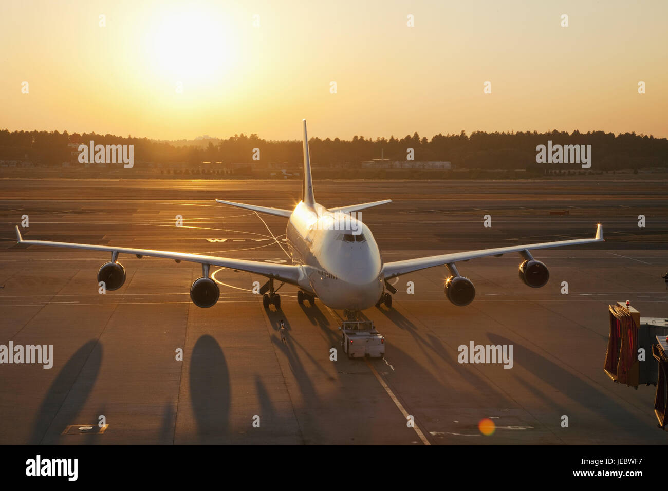 Japan, Tokyo, Narita Internationally airport, landing field, airplane, evening light, airport, outside, travel, - Stock Image