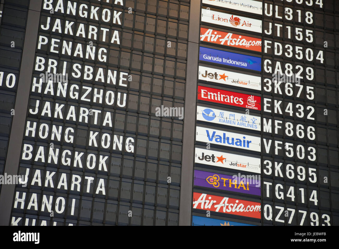 Singapore, airport, indicator panel, Asia, takeoff, information, travel, journey by air, vacation, nobody, tourism, - Stock Image