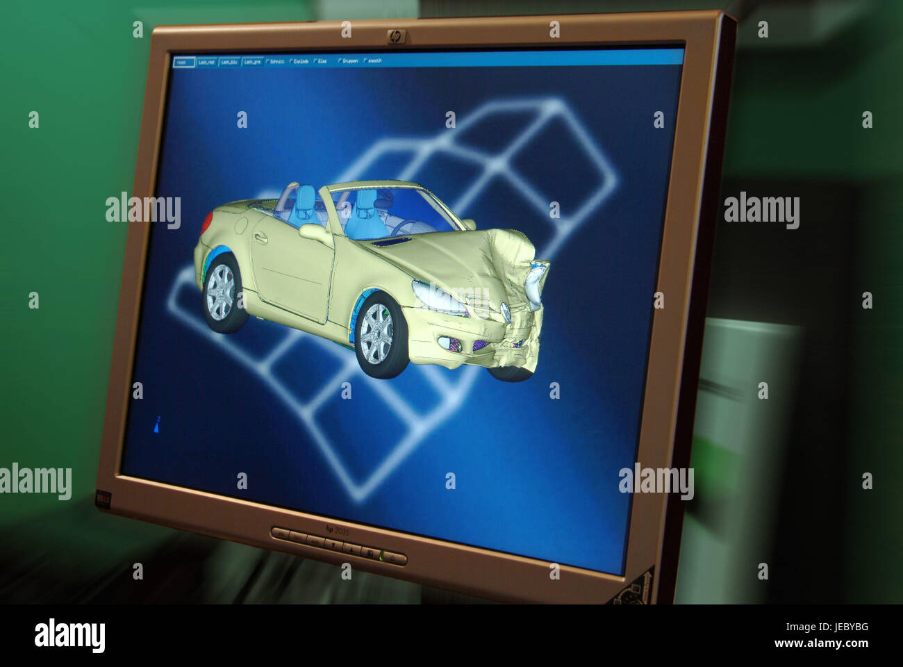 Virtual computer-assisted accident research, 3-D simulation, - Stock Image