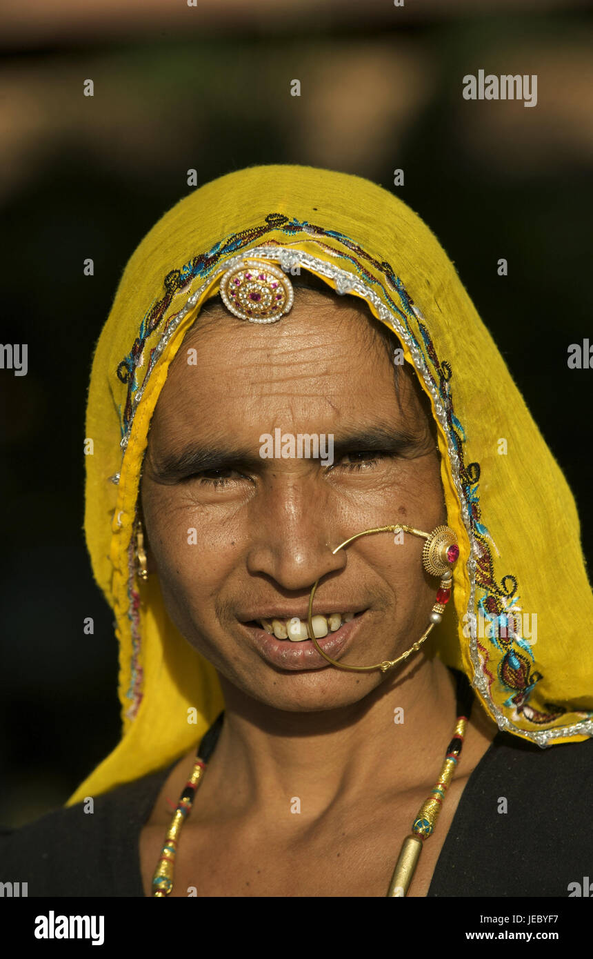 India, Rajasthan, Pushkar, woman with nasal ring, portrait, Stock Photo