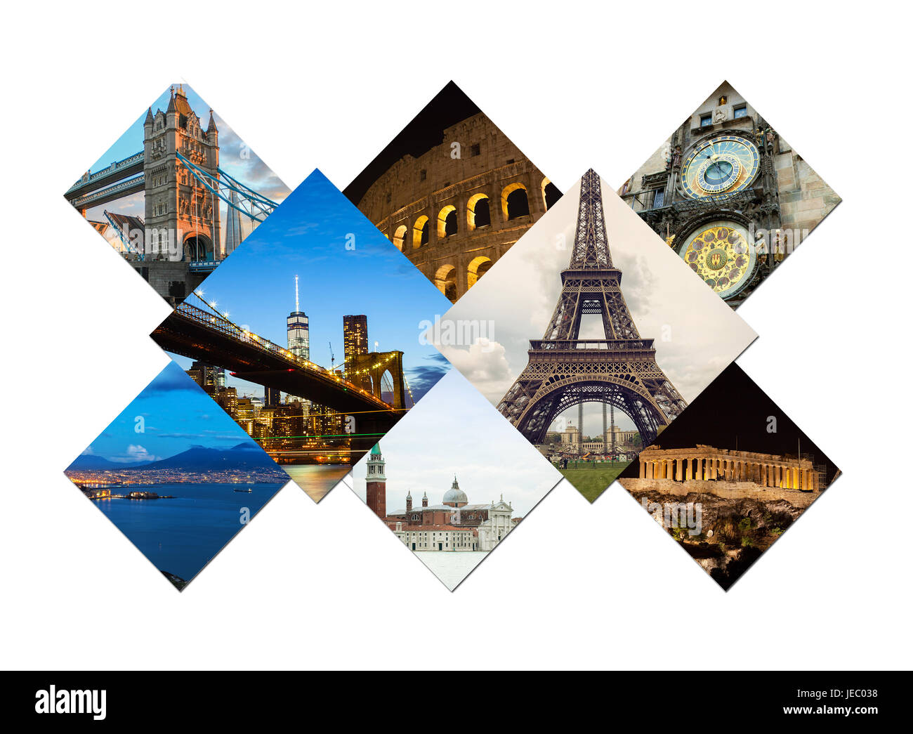 Travel collage of famous places and buildings. - Stock Image