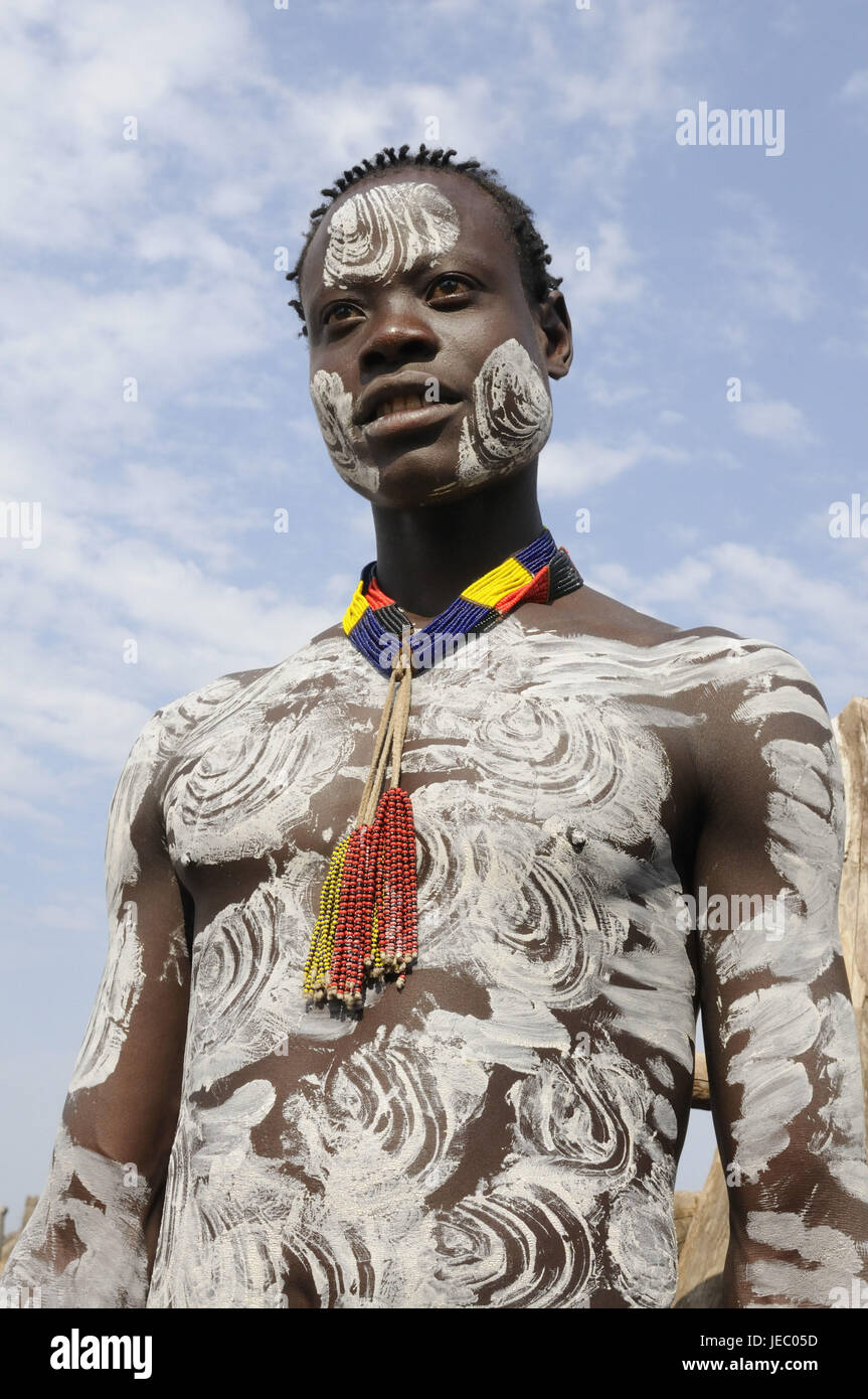 Man Body Painting Tribe The Square Southern Omotal South Stock Photo Alamy