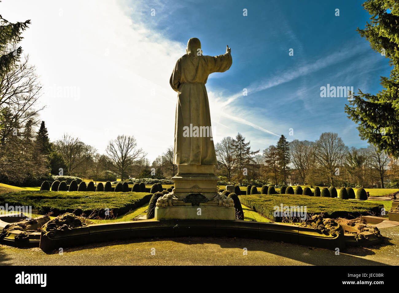 Germany, Hamburg, village Ohls, park cemetery, Christus-Statue, back view, cemetery, statue, Christ, trees, Christ, - Stock Image