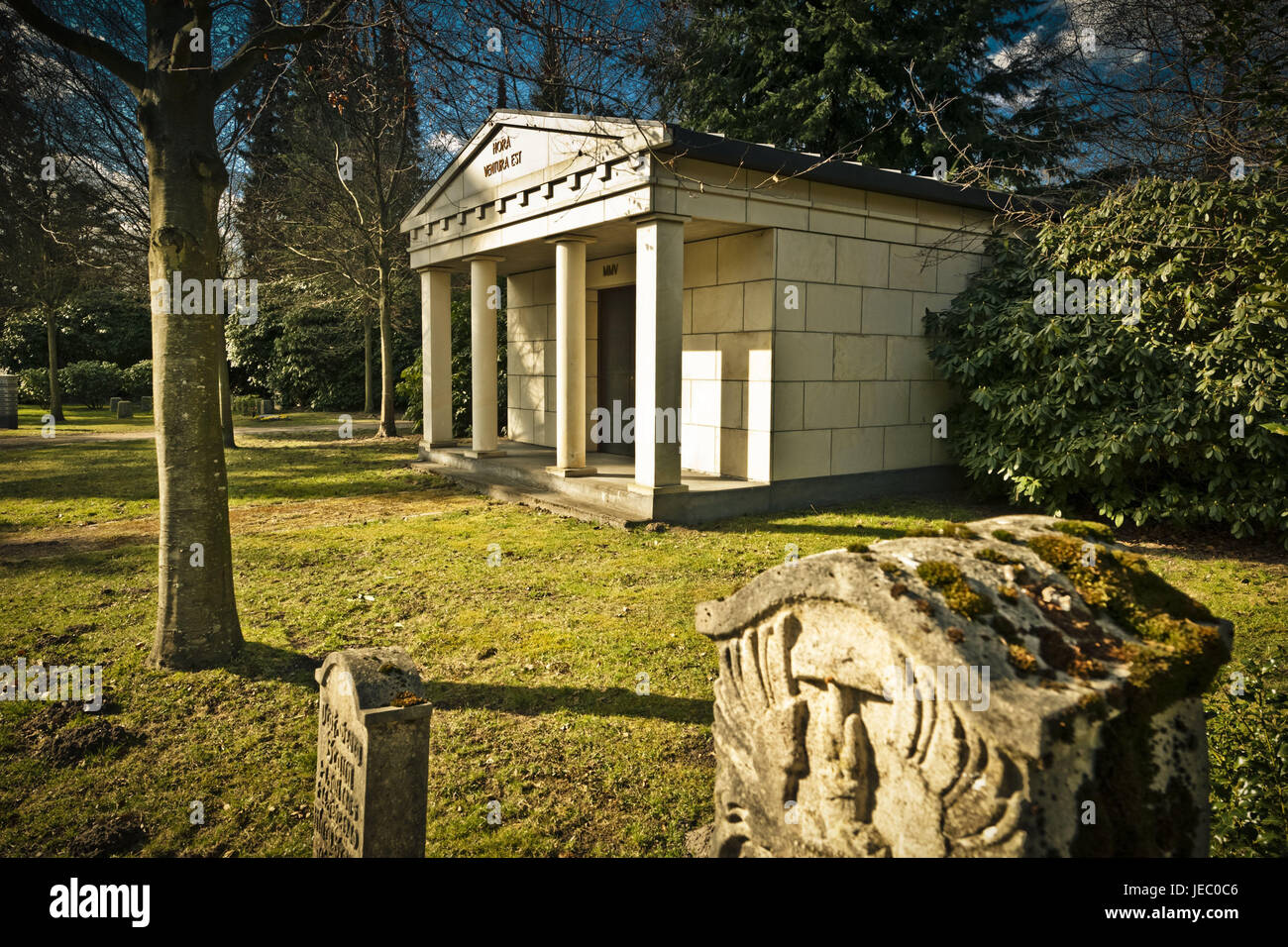 Germany, Hamburg, village Ohls, park cemetery, tomb, cemetery, rest, recollection, memory cemetery, memory, faith, - Stock Image