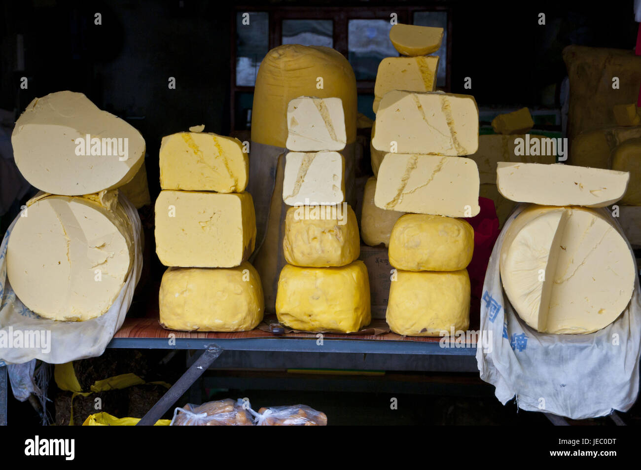 Yak's cheese to the sales, Lhasa, Tibet, Asia, - Stock Image