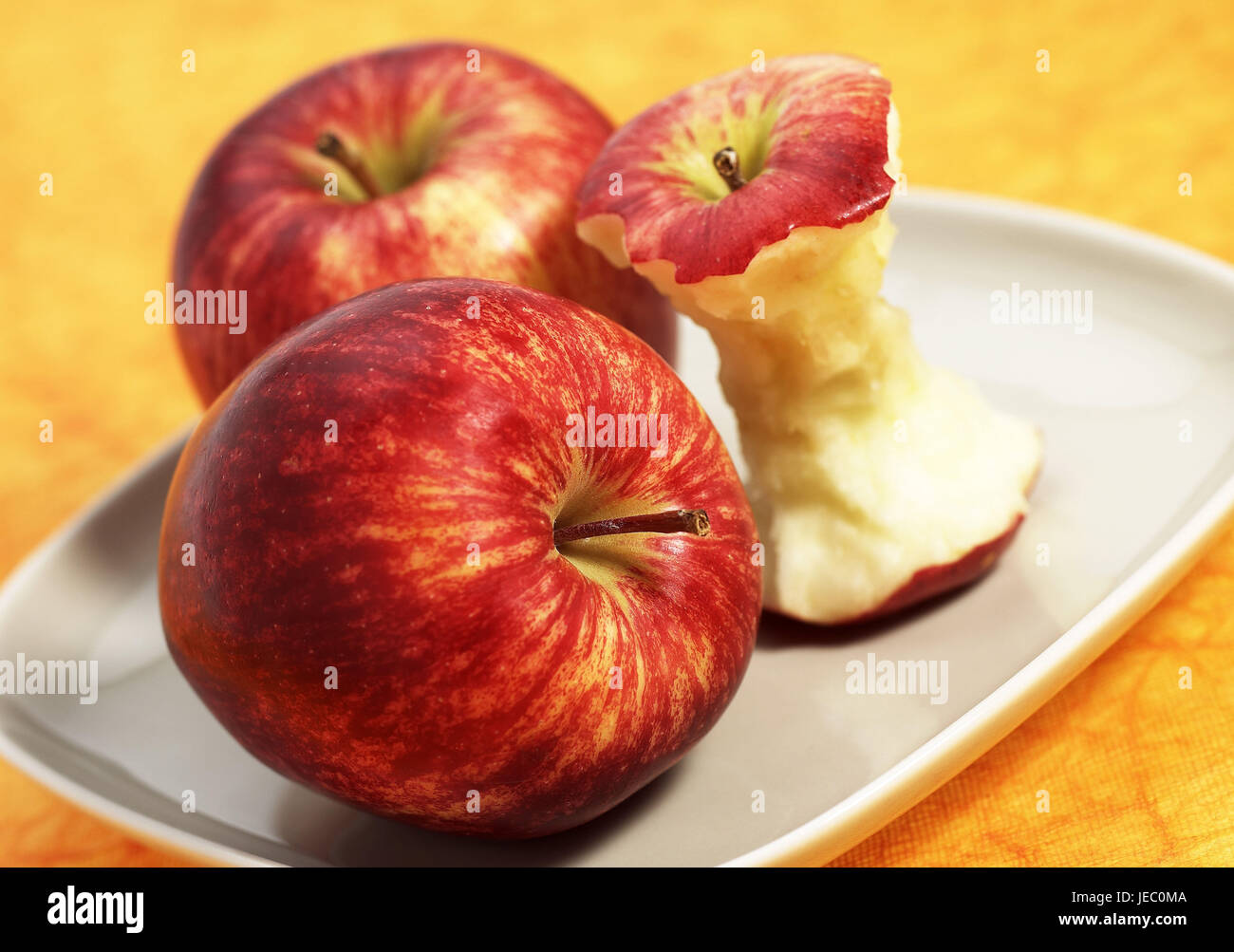 Apples, royal gala, Malus domestica, fruit, core, plate, - Stock Image