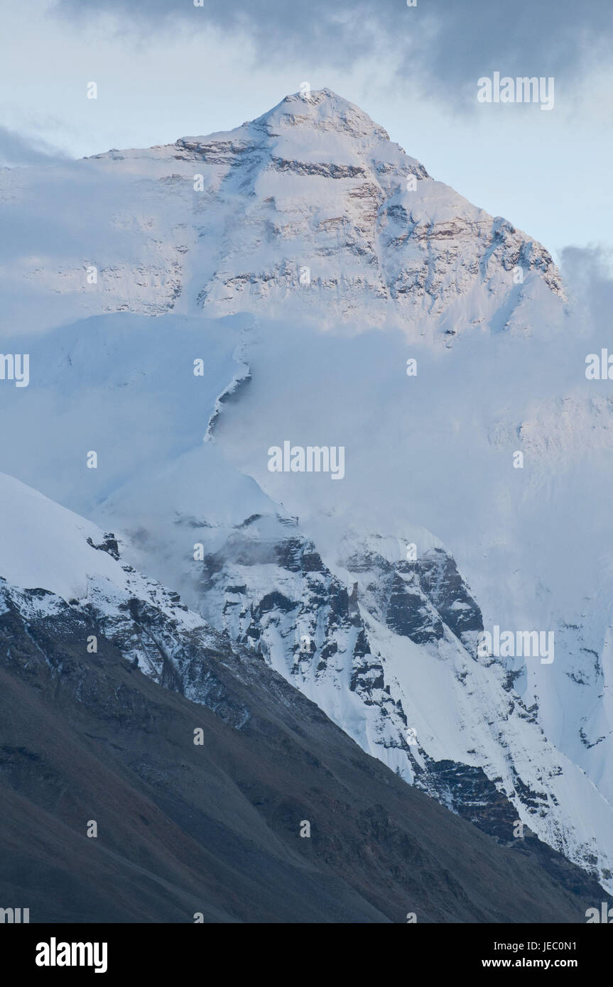 The north page of the Mount Everest, Tibet, Asia, - Stock Image