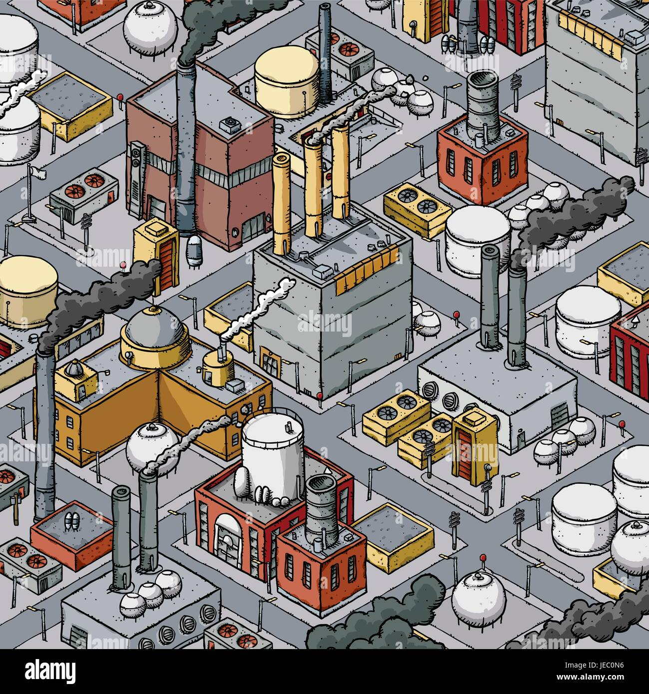 Isometric cartoon of a dense zone of heavy industry with factories, refineries, smokestacks and fuel tanks. - Stock Vector