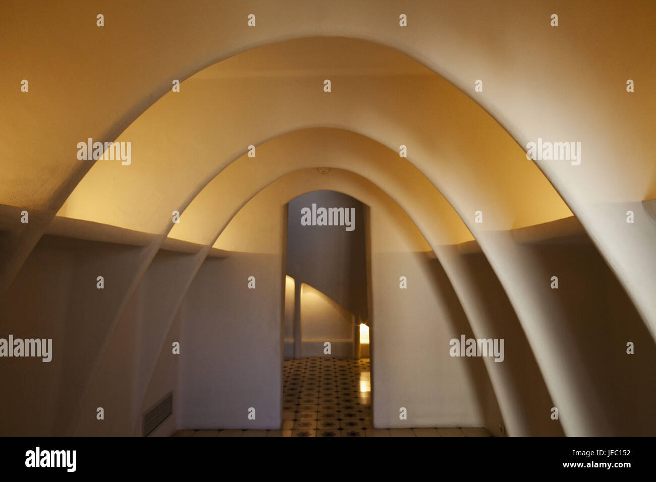 Spain, Barcelona, Casa Batllo, attic, - Stock Image