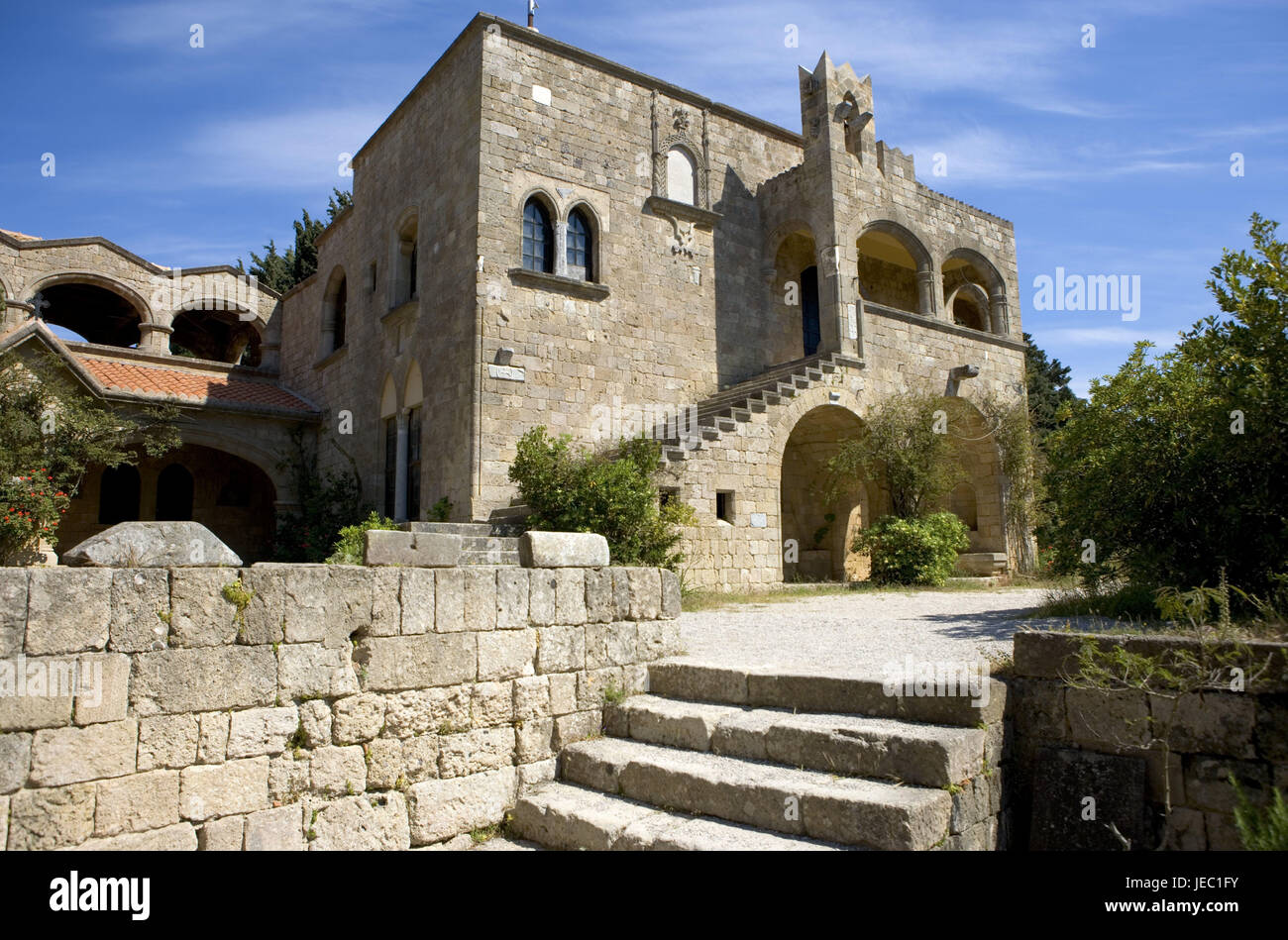 Greece, Rhodes, minster Filerimos, tower, building, cross, Knights of Malta, church, building, outside, religion, - Stock Image