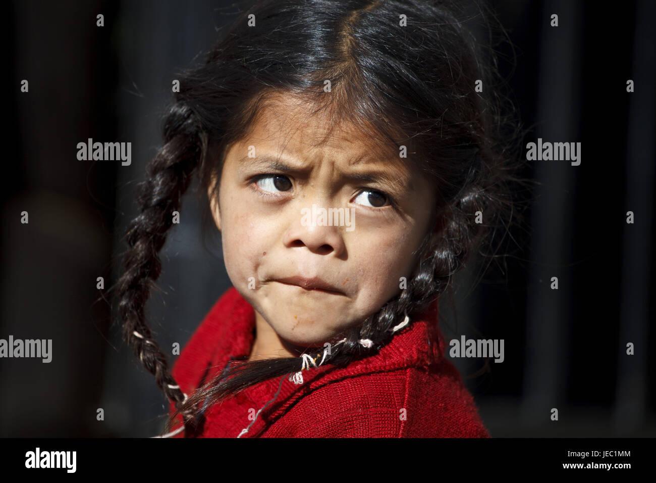Guatemala, Solola, market, girl, Maya, no model release, - Stock Image
