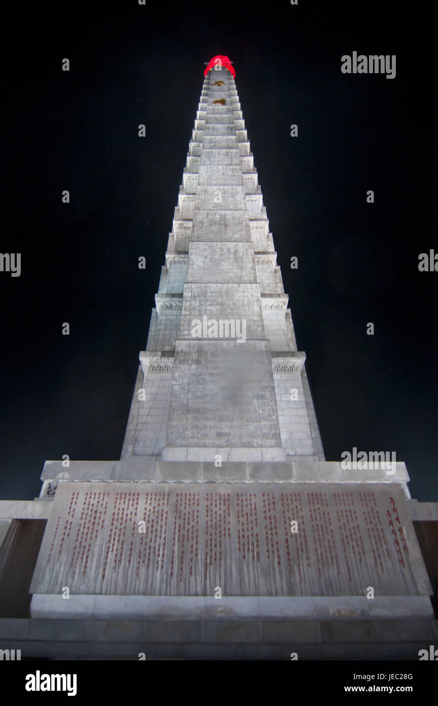 The Juche tower at night, Pjongjang, North Korea, - Stock Image