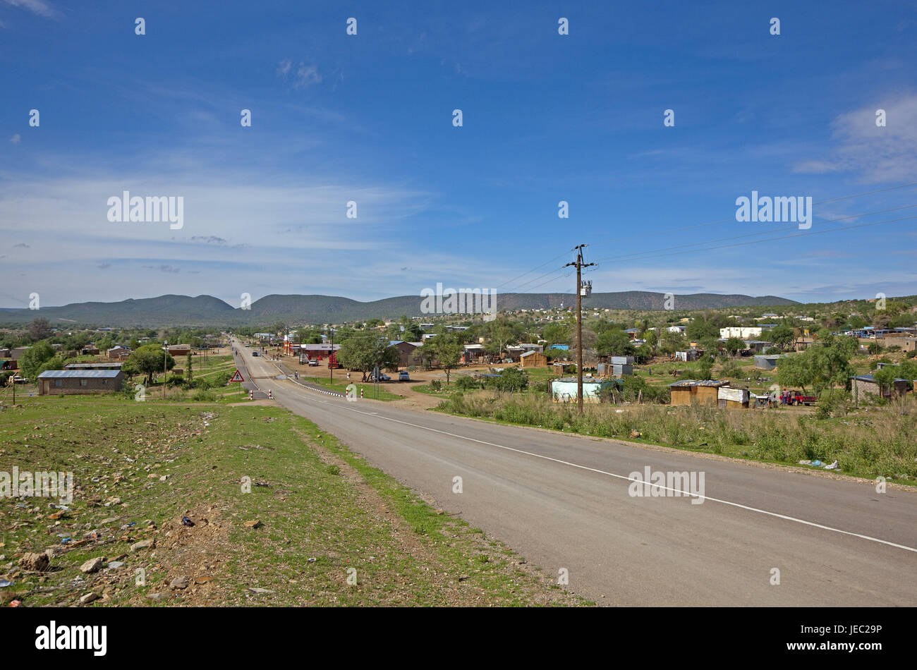 Africa, Namibia, Kunene region, Kaokoveld, Opuwo, street, nobody, South-West Africa, capital, town, Kuneneregion, - Stock Image