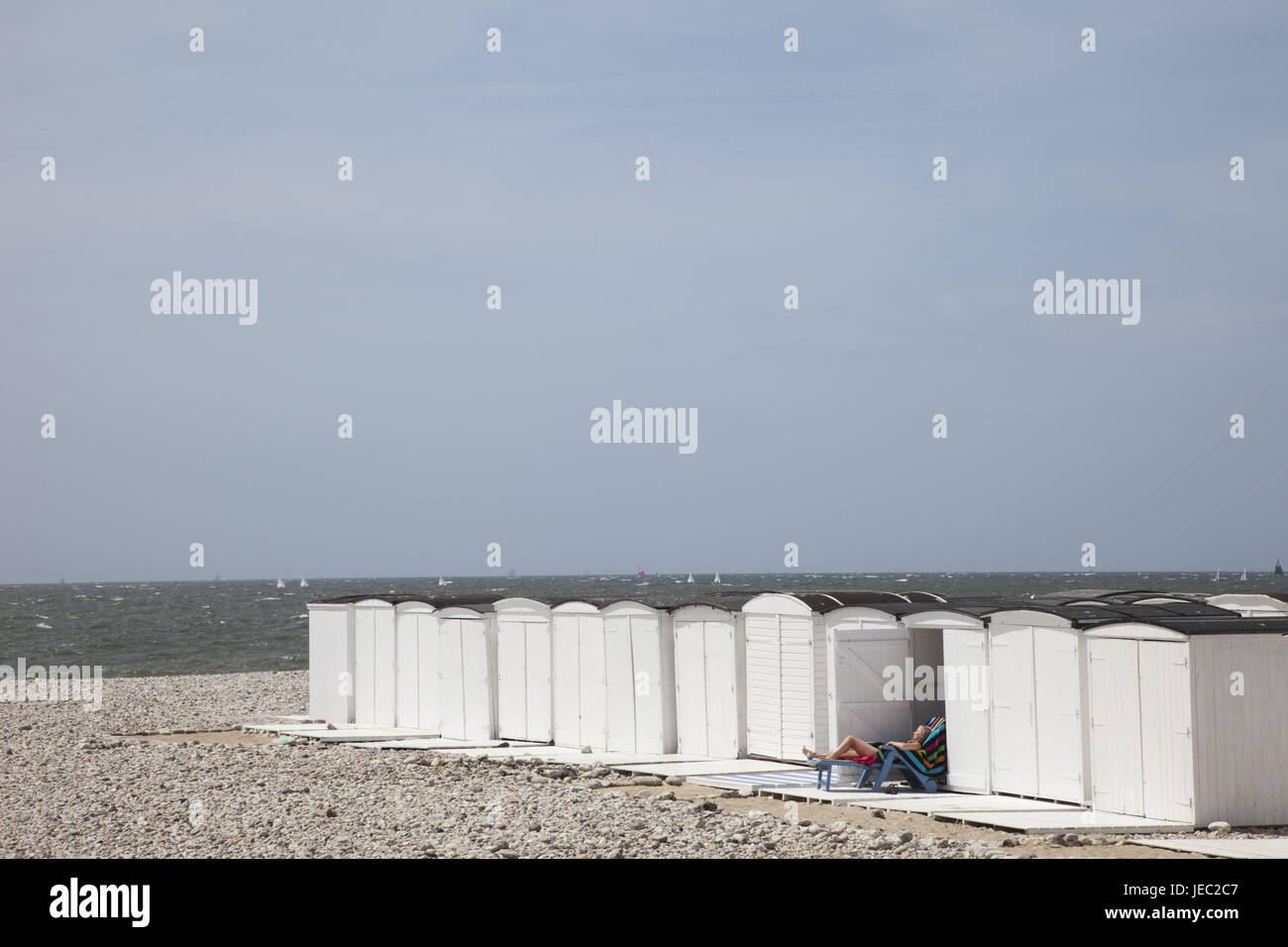 France, Normandy, Le Havre, beach steelworks, - Stock Image