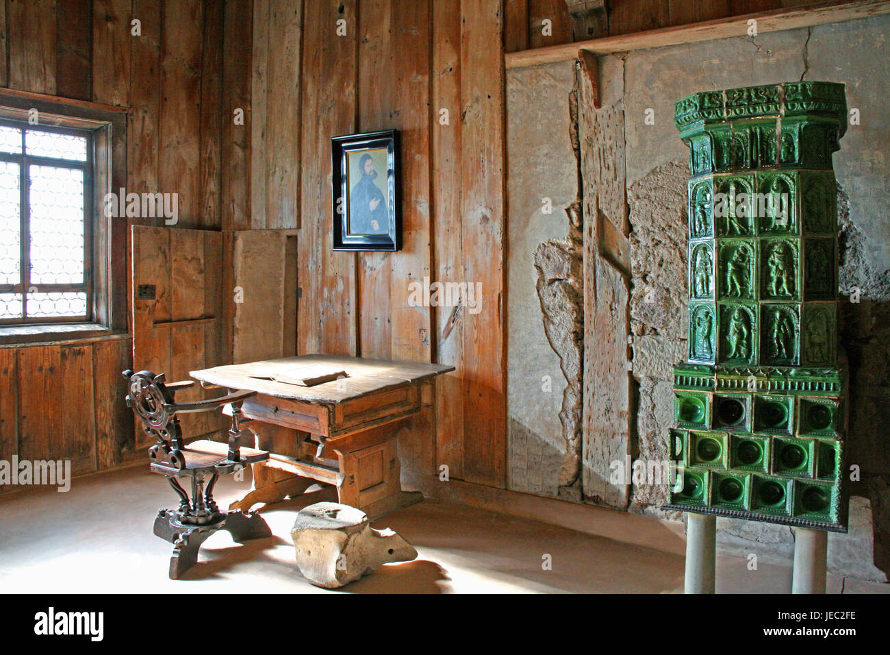 Germany, Thuringia, Eisenach, Wartburg, Lutherstube, room, room, place of residence, Luther, gear ratio, tiled stove, - Stock Image