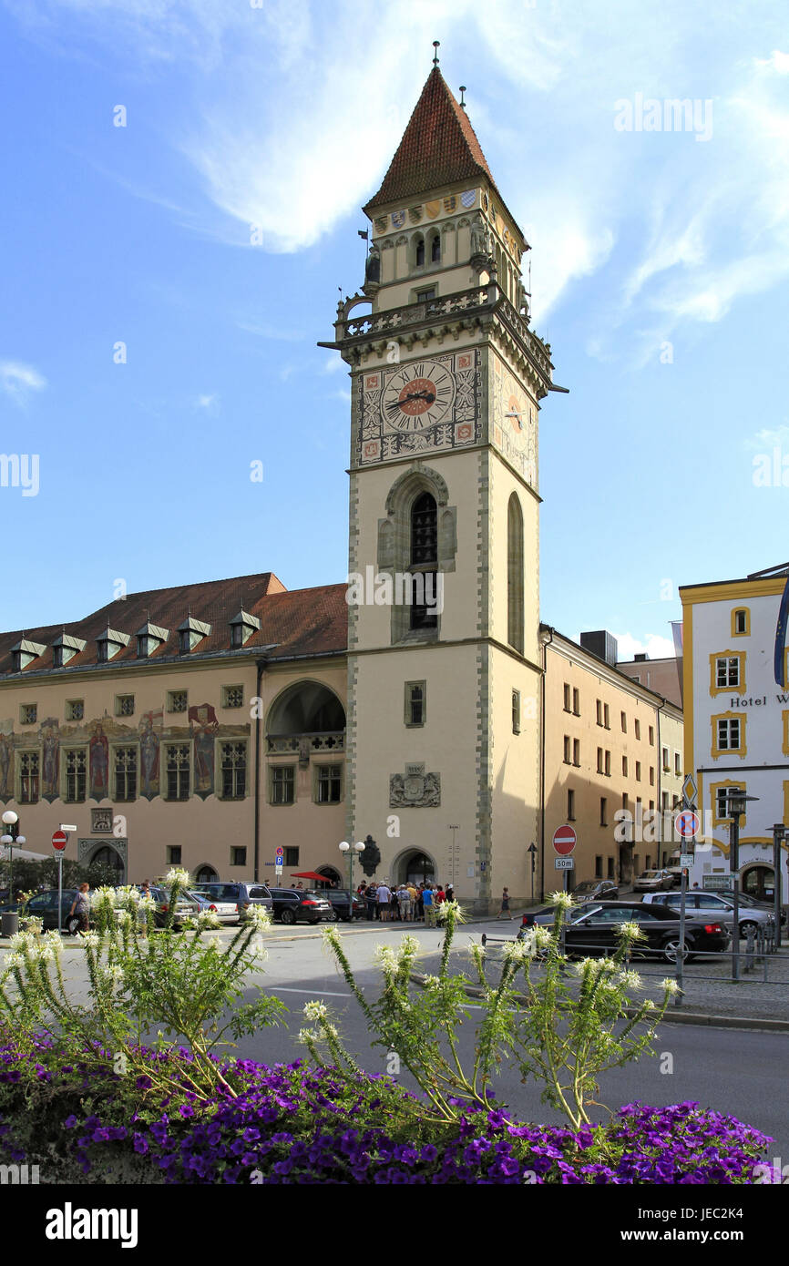 Germany, Lower Bavaria, Passau, old city hall, tower, city hall tower, city hall square, city hall, Europe, bell - Stock Image