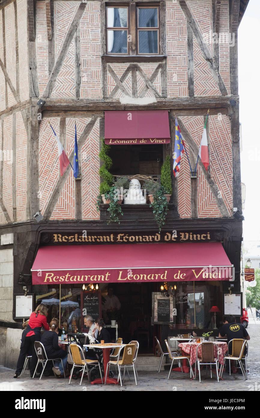 France, Loire valley, Tours, restaurant 'Leonard de Vinci', - Stock Image