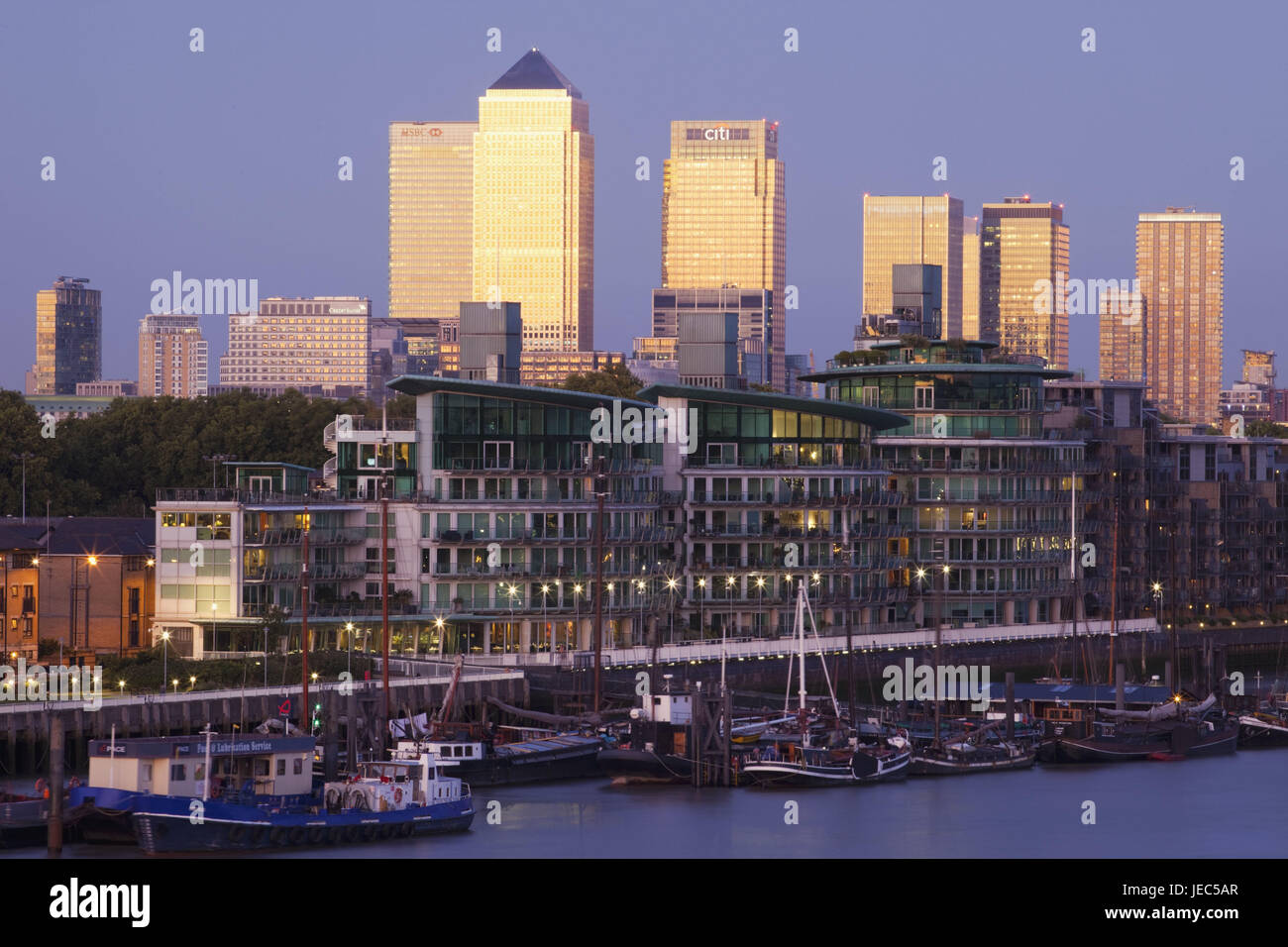 England, London, dock country, Canary Wharf, skyscraper, residential houses, the Thames, dusk, town, architecture, Stock Photo