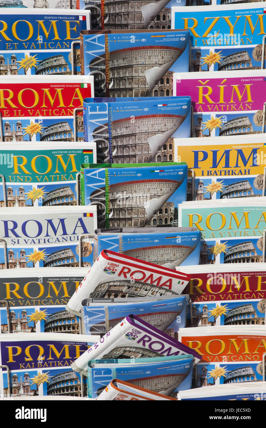Italy, Rome, souvenir state, sales, guide, books, - Stock Image
