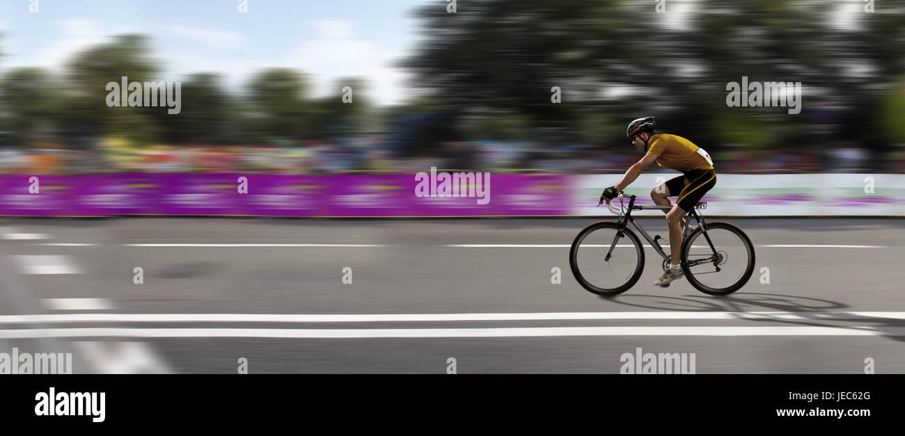 Racing cyclist, bicycle races, victory, destination, panorama, - Stock Image