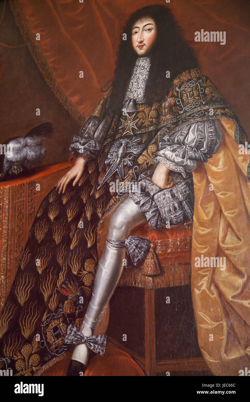 France, Loire valley, castle Chambord, painting of gas tone d'Orleans, - Stock Image