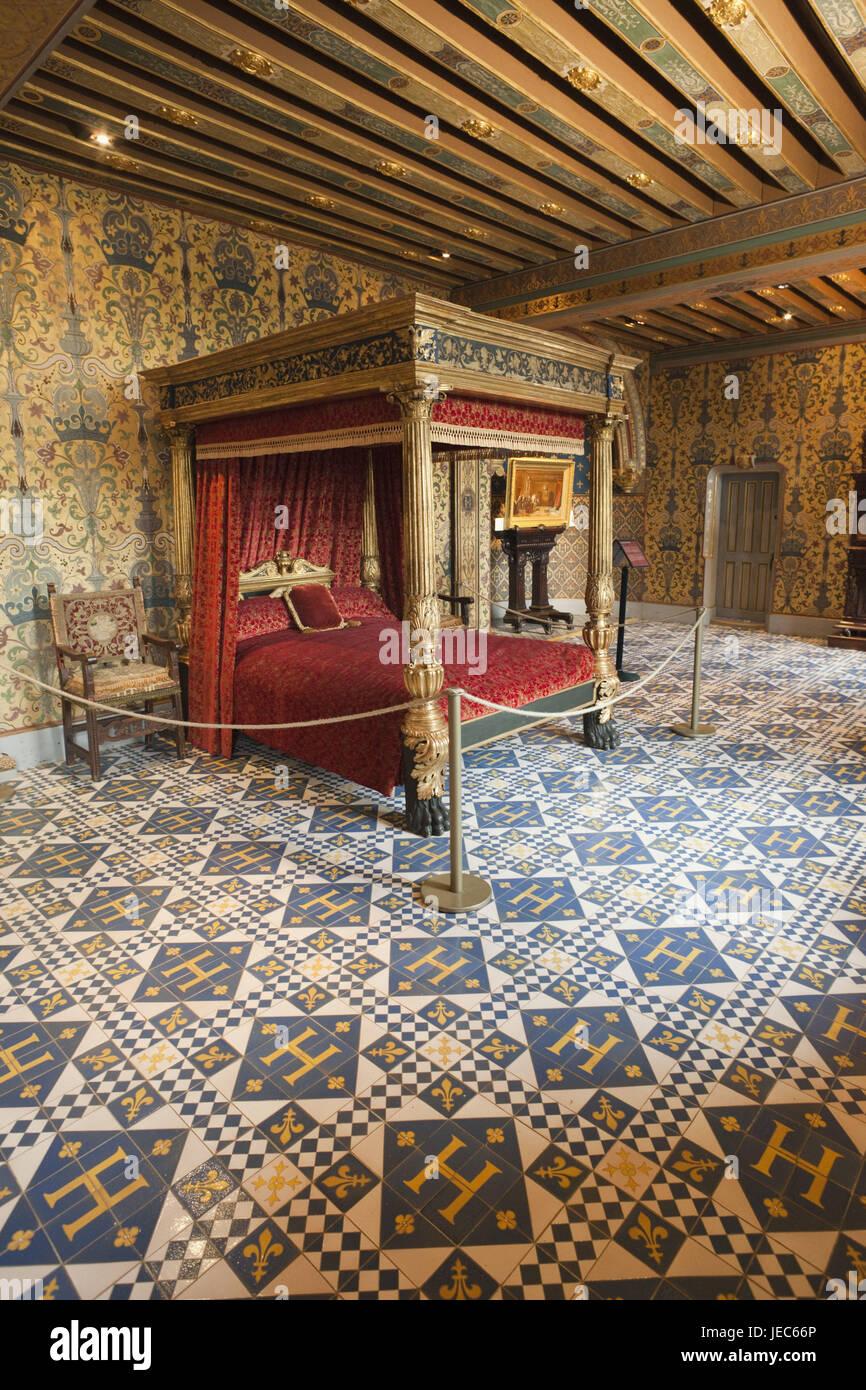 France, Loire valley, castle Blois, interior shot, bedroom of Heinrich III, - Stock Image