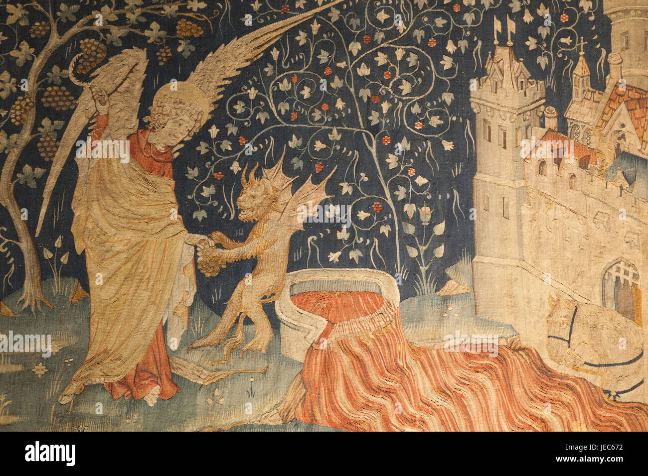 France, Loire valley, lock Angers, gallery of the apocalypse, tapestry, - Stock Image