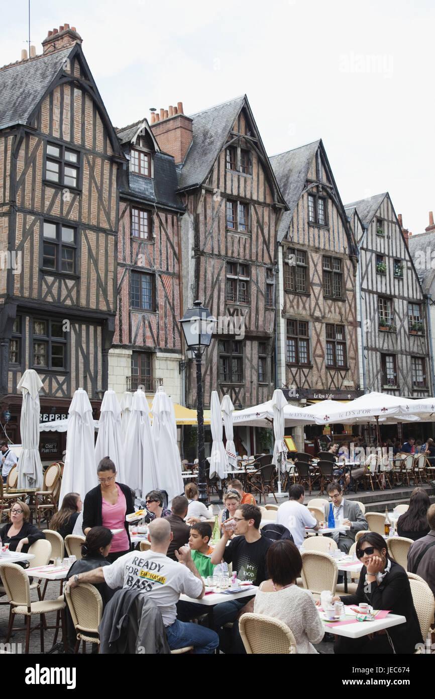 France, Loire valley, Tours, Place Plumereau, café and restaurant, - Stock Image