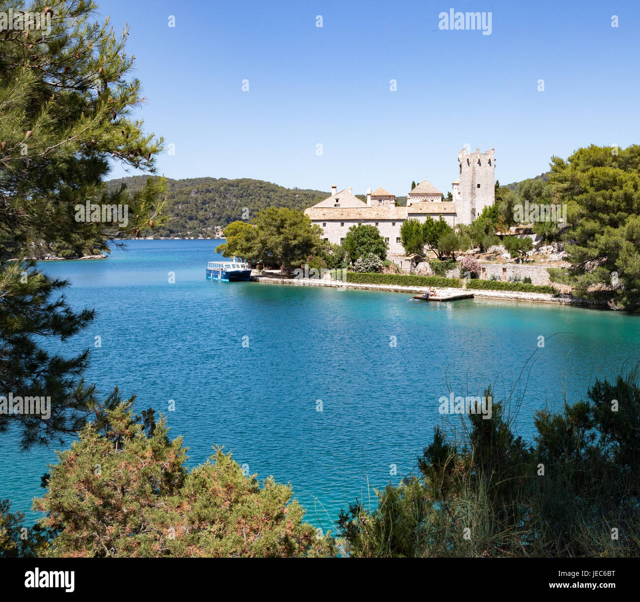The Benedictine monastery on tiny St Mary's island in Veliko Jezero a sea lake on the island of Mljet in Croatia - Stock Image