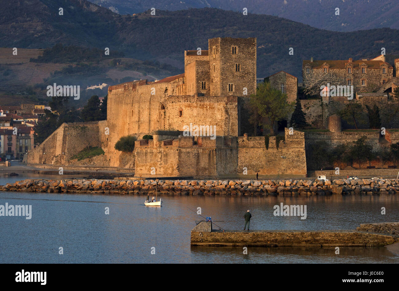 Europe, France, Collioure, view at the château royal, Europe, France, Languedoc-Roussillon, Collioure, Département - Stock Image
