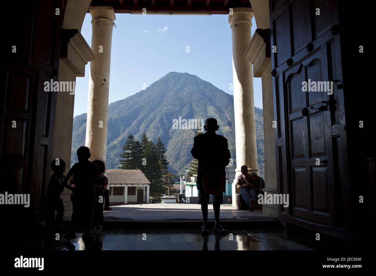 Guatemala, Atitlan lake, church, person, Maya, volcano, no model release, no property release, - Stock Image