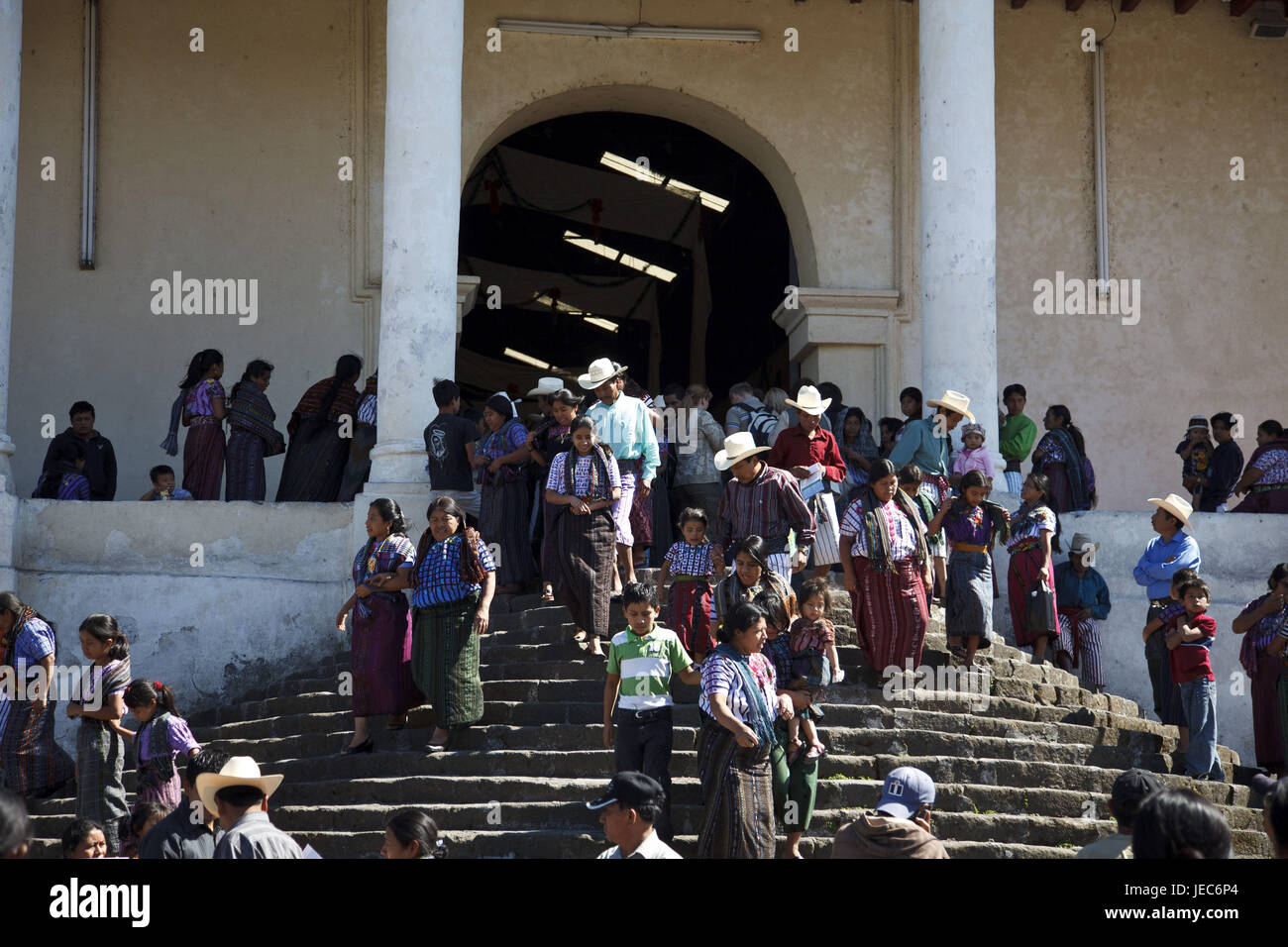 Guatemala, Atitlan lake, church, Santiago Atitlan, people, no model release, - Stock Image