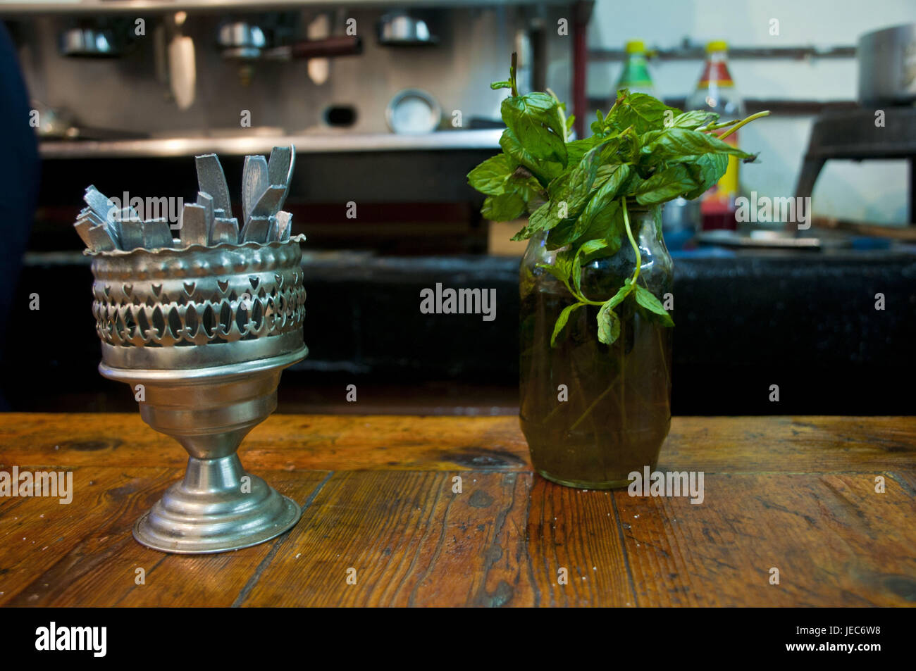 Fresh mint in a bar in the UNESCO-world cultural heritage the kasbah, Old Town of Algiers, capital of Algeria, Africa, - Stock Image