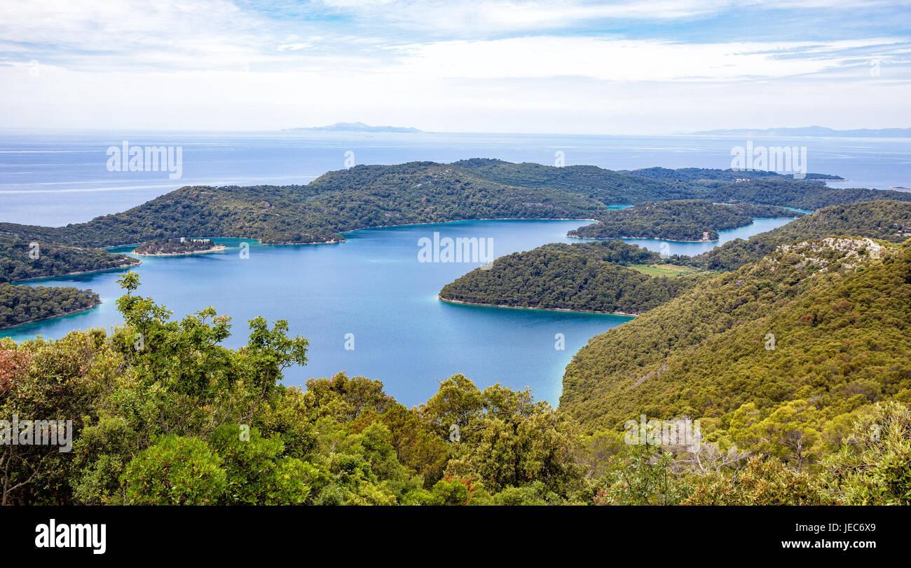 Sea lake of Veliko Jezero and St Mary's island within the island of Mljet  Croatia from the summit of Veliki - Stock Image