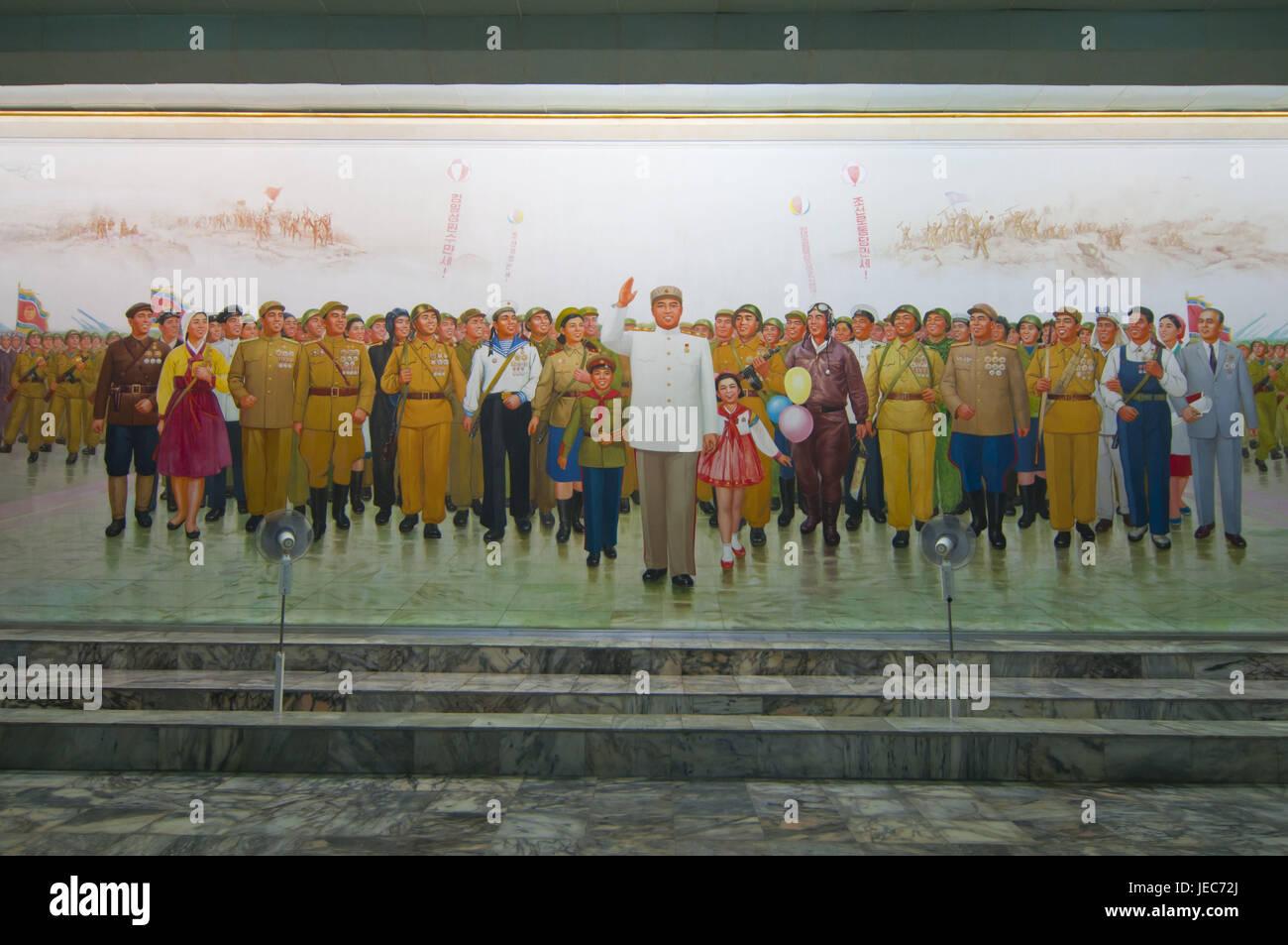 Communist propaganda poster with Kim Il Sung, Pjongjang, North Korea, - Stock Image