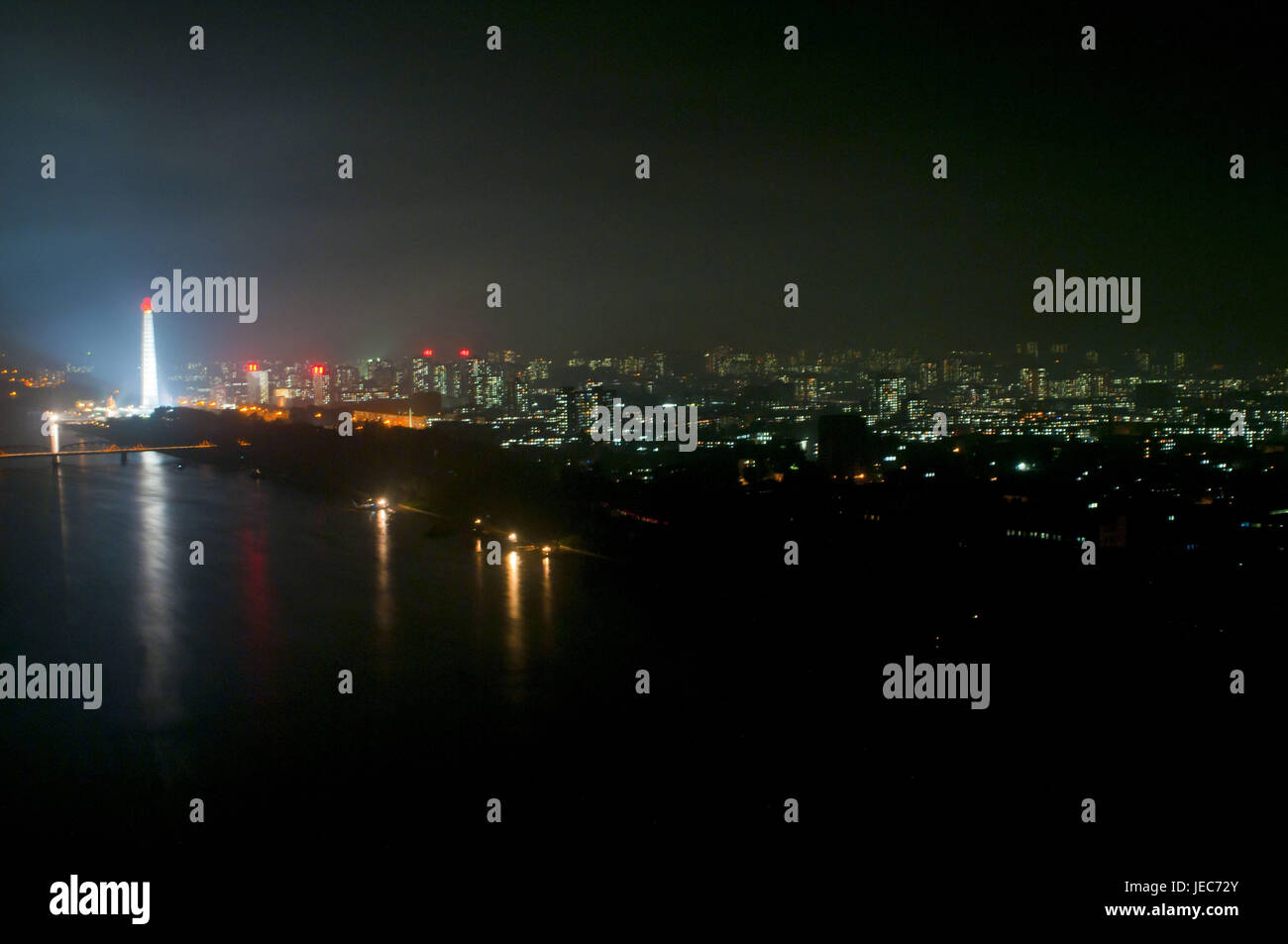 The Juche tower, Pjongjang, North Korea, - Stock Image